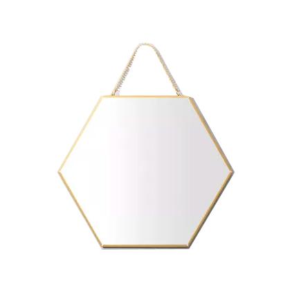 Espelho Hexagona Dourado