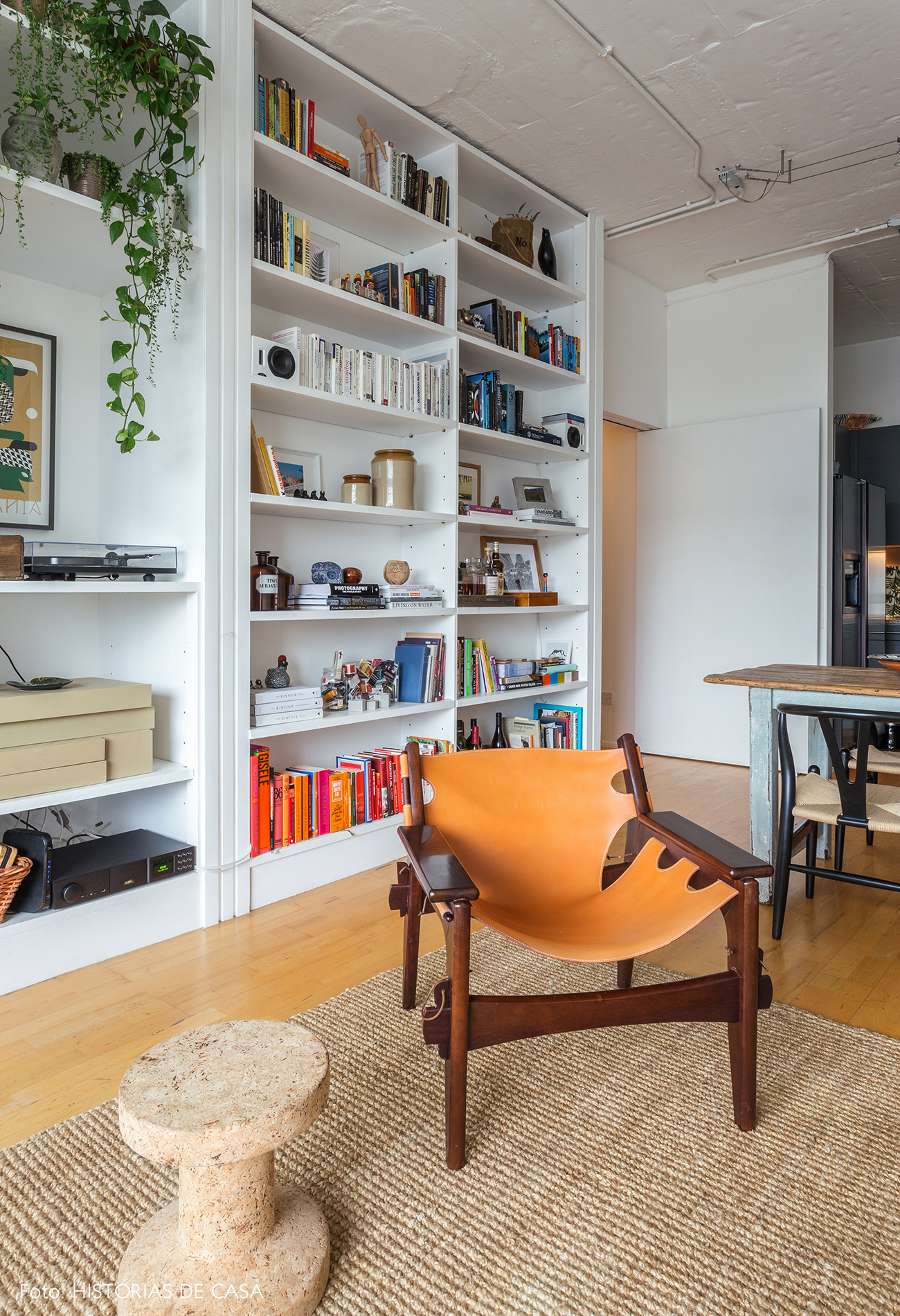 Living room with white bookcase and vintage furniture
