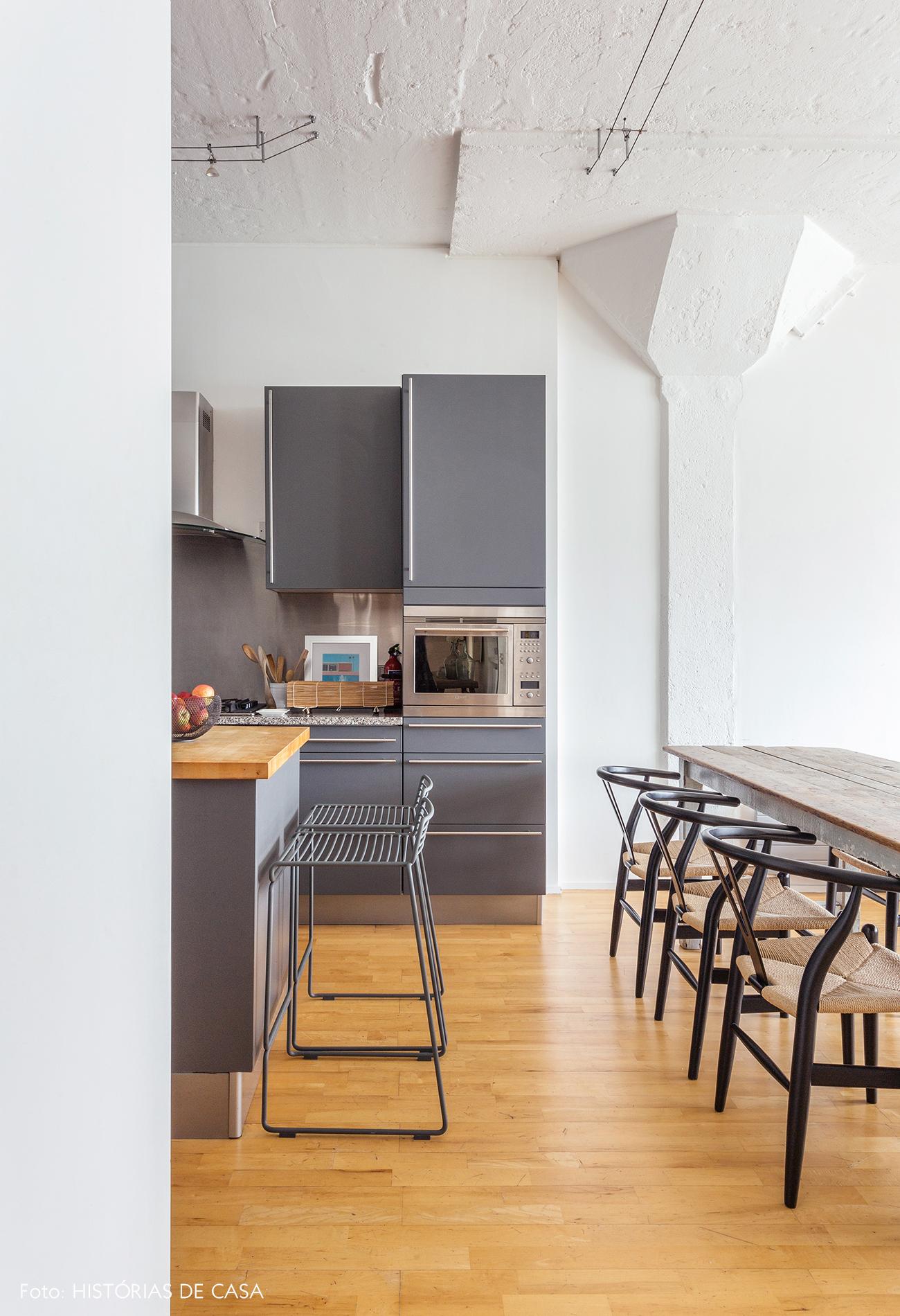 Grey minimalist kitchen wooden floor