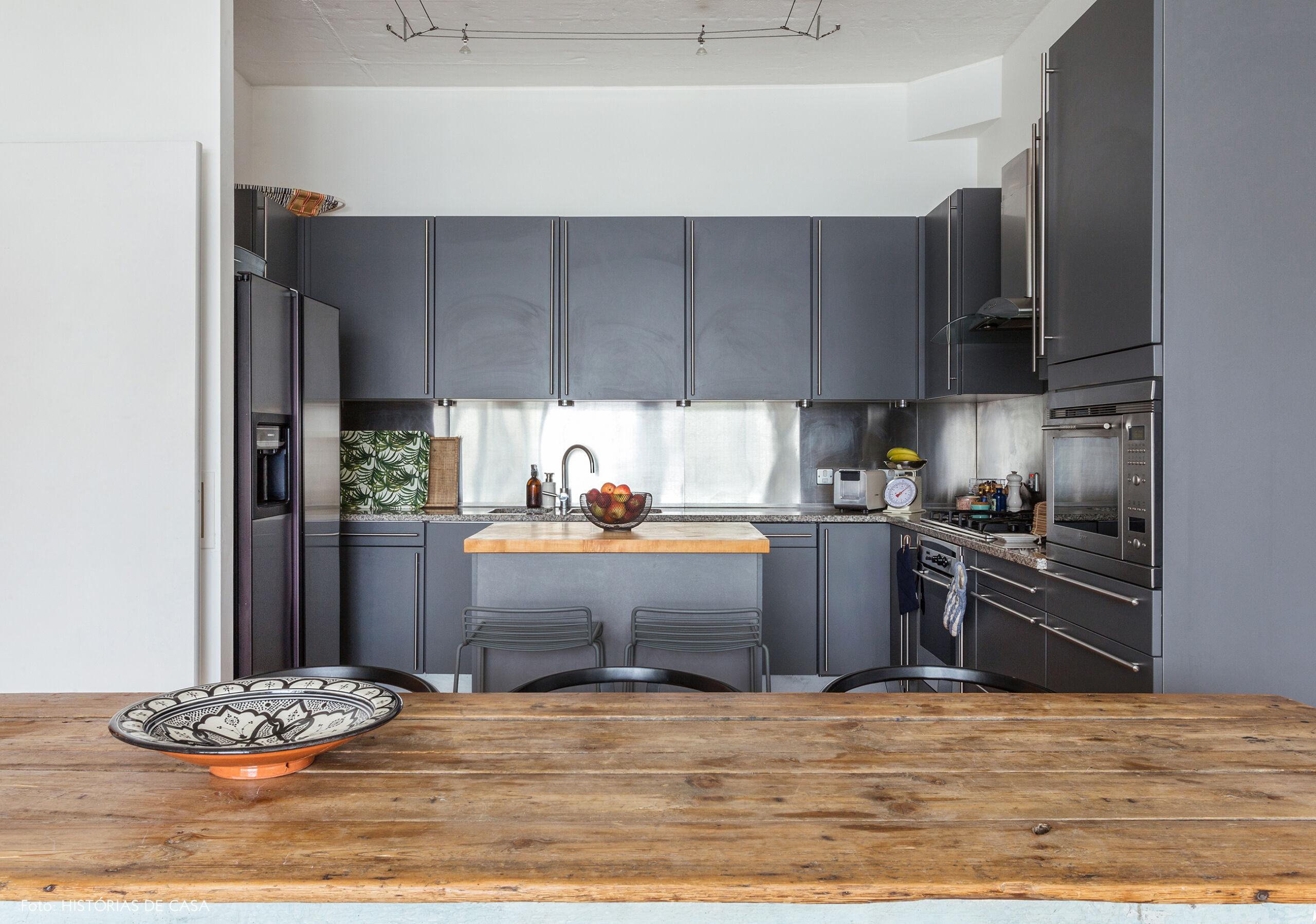Grey minimalist kitchen rustic wood