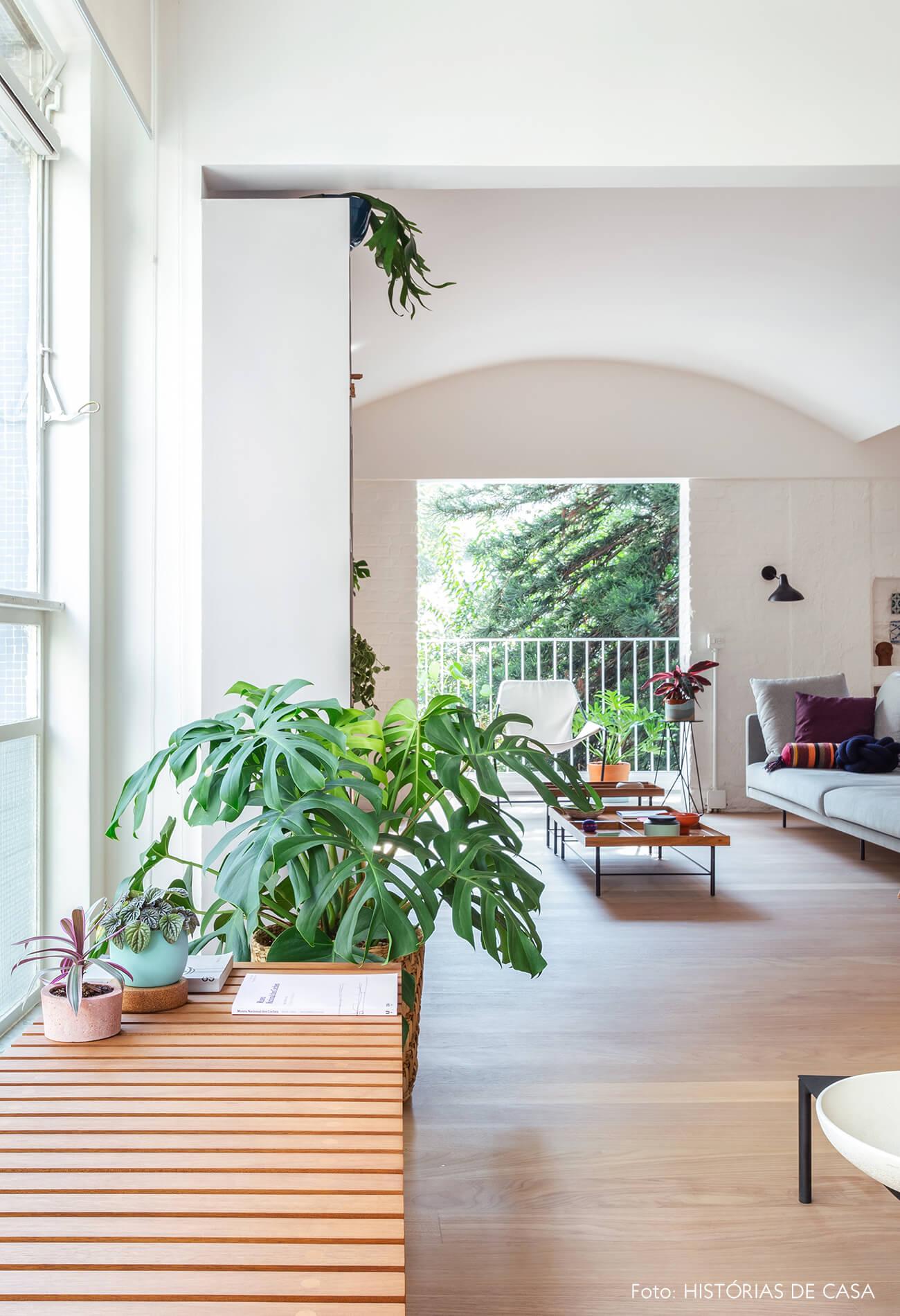 06-decoracao-apartamento-plantas-costela-de-adao-banco-de-madeira