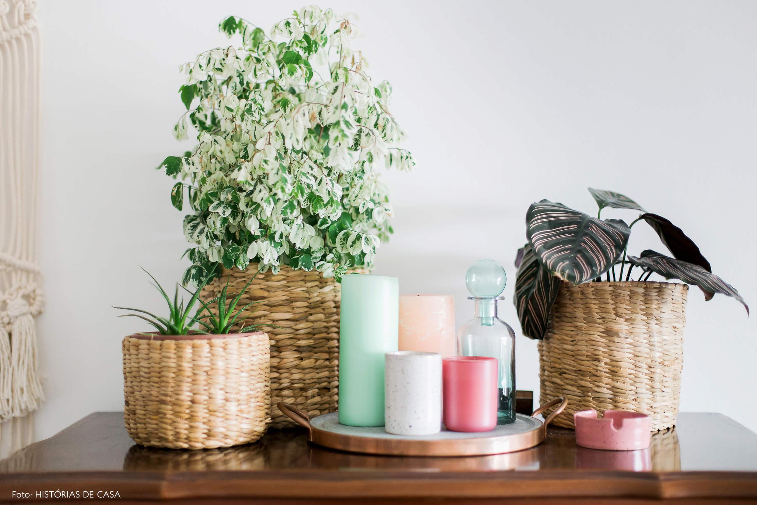 Cestos usados como cachepô para plantas