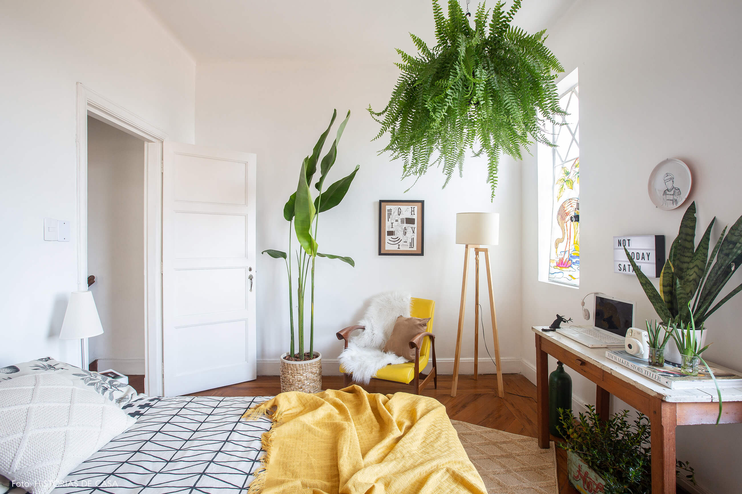 Quarto de casal com samambaia e muitas plantas