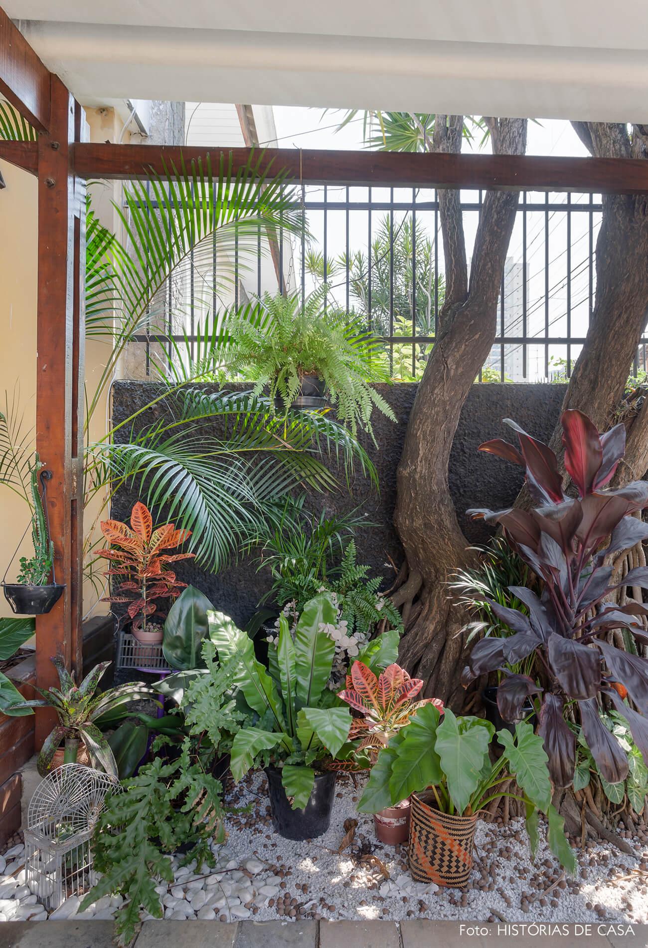 Casa antiga com painel de madeira e jardim na entrada