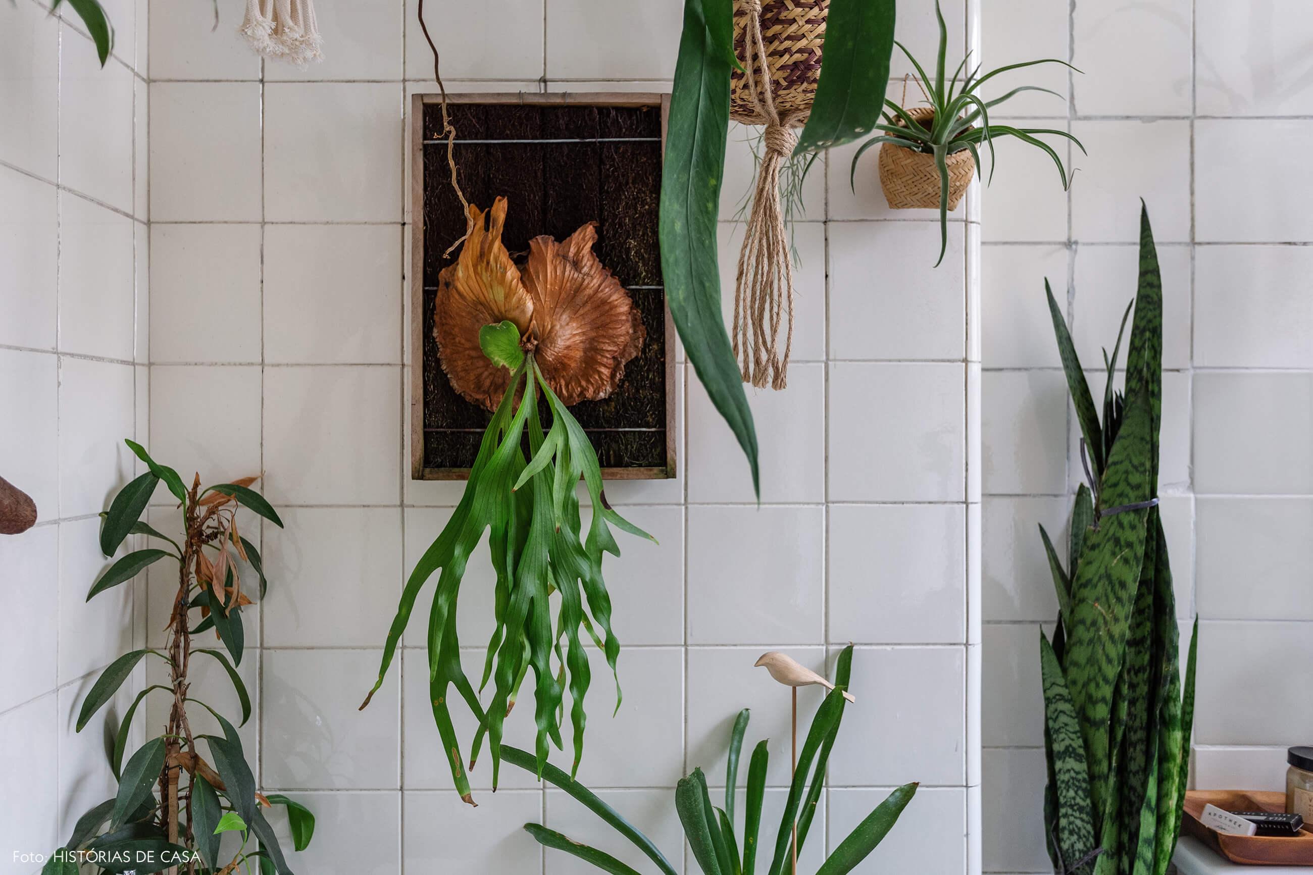 Banheiro vintage com muitas plantas