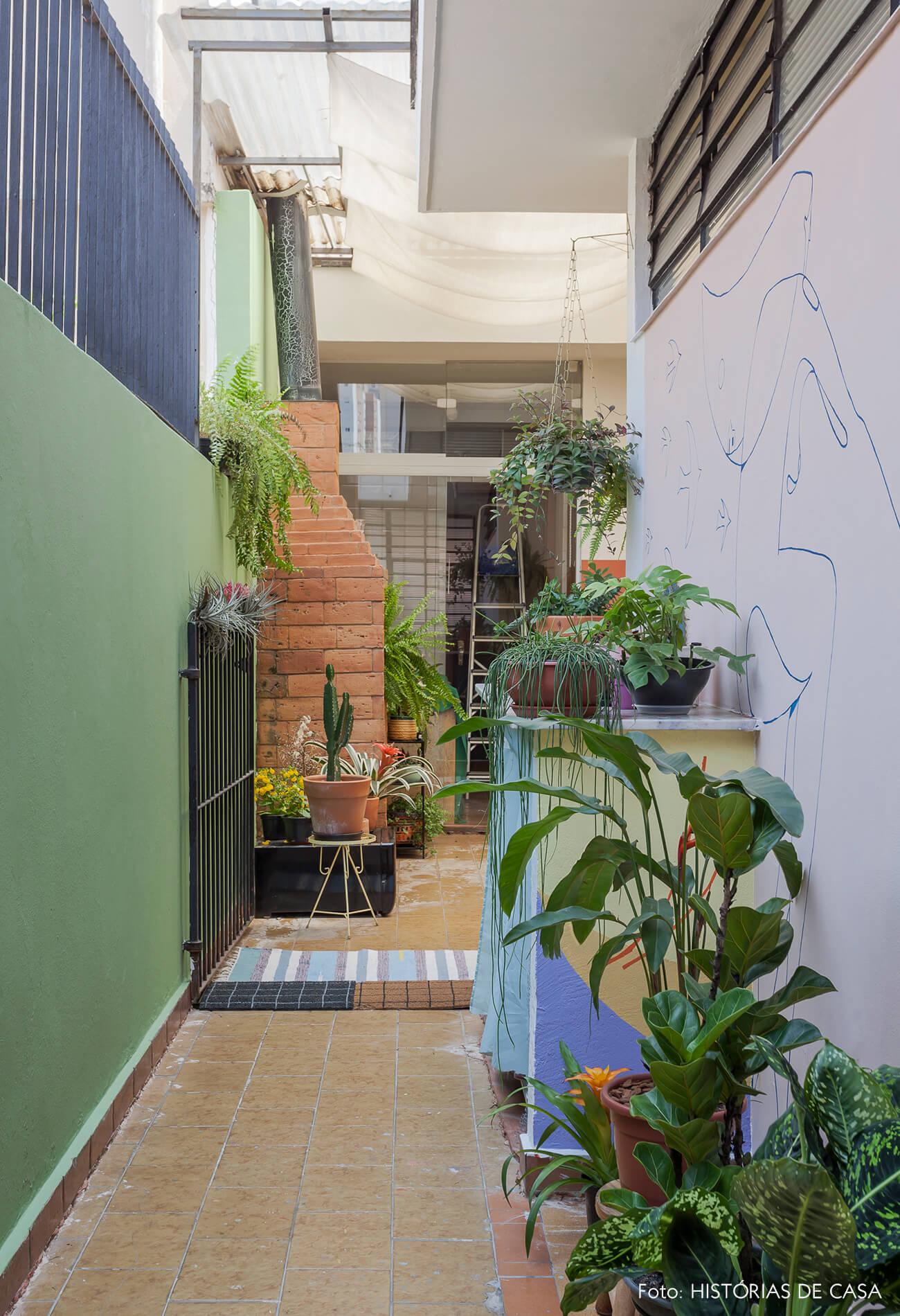 Corredor lateral do quintal com parede verde