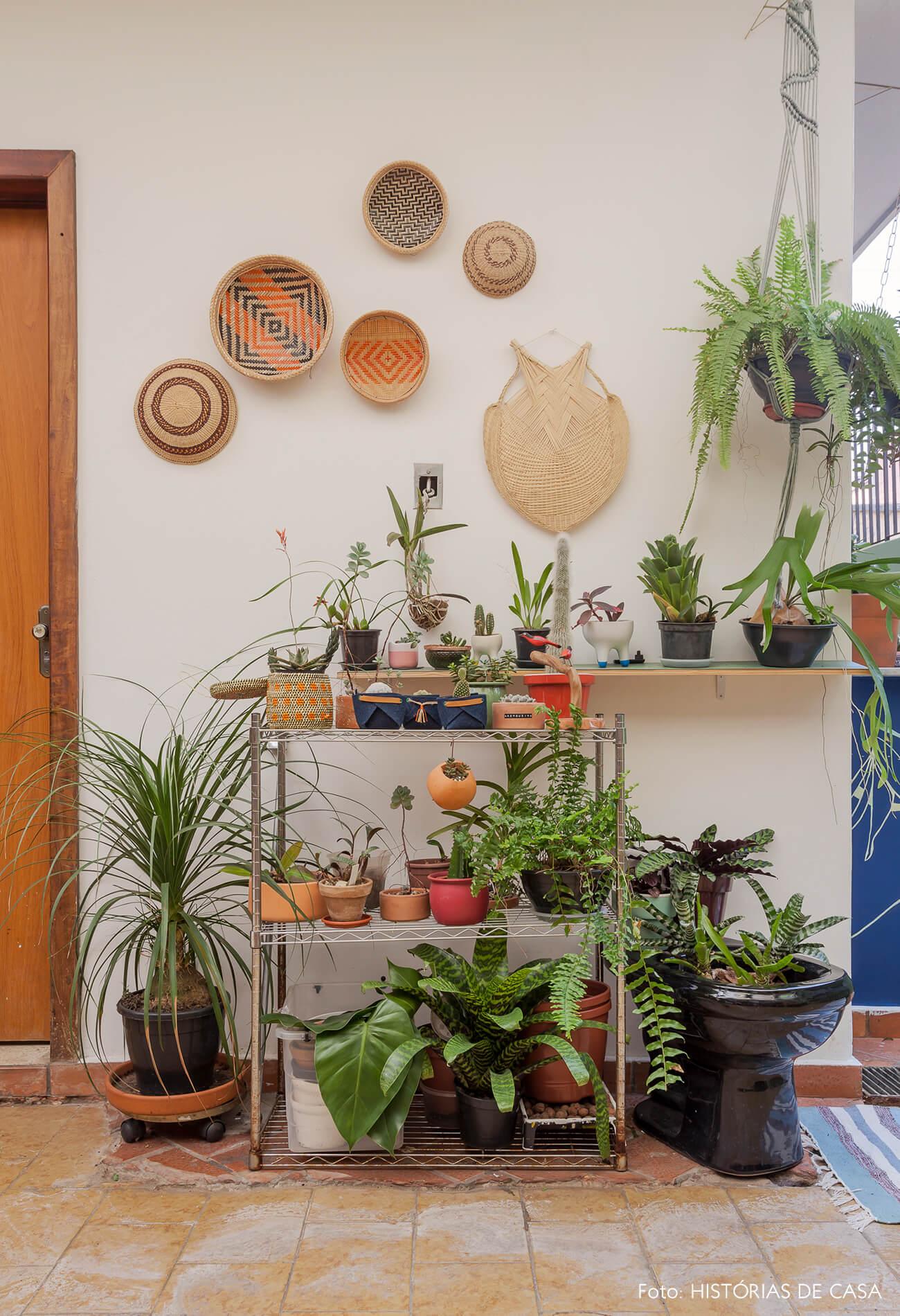 Quintal com muitas plantas e cestos artesanais