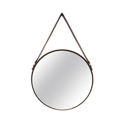 Espelho preto em metal e couro