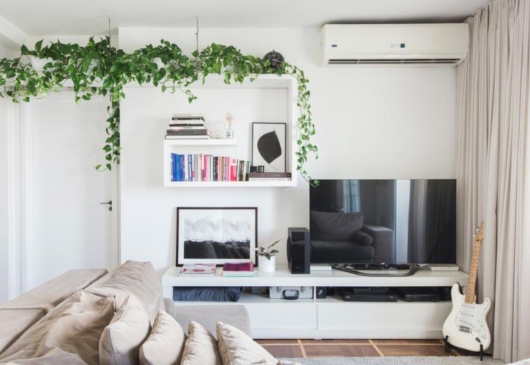 Apartamento com estantes brancas e plantas pendentes Jiboia