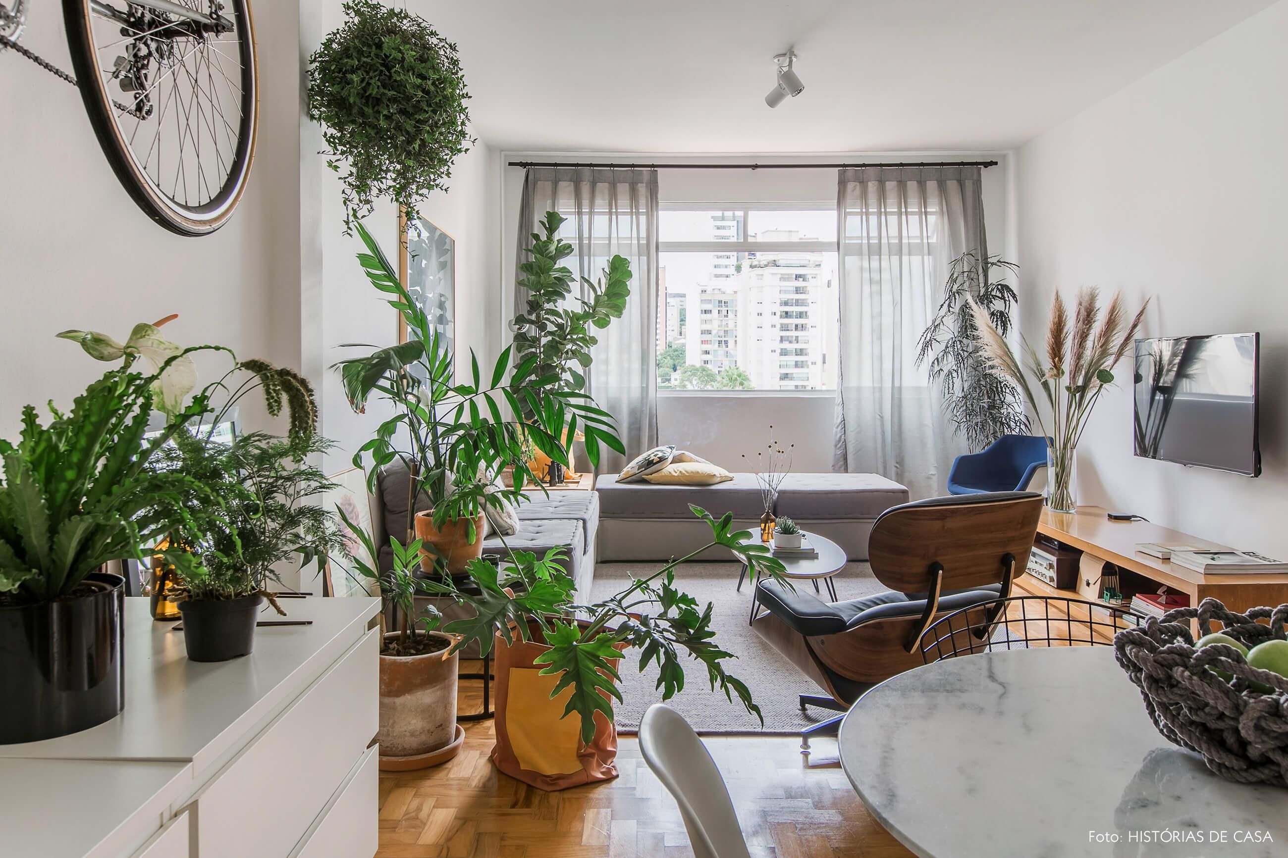 Sala com tons de cinza e muitas plantas