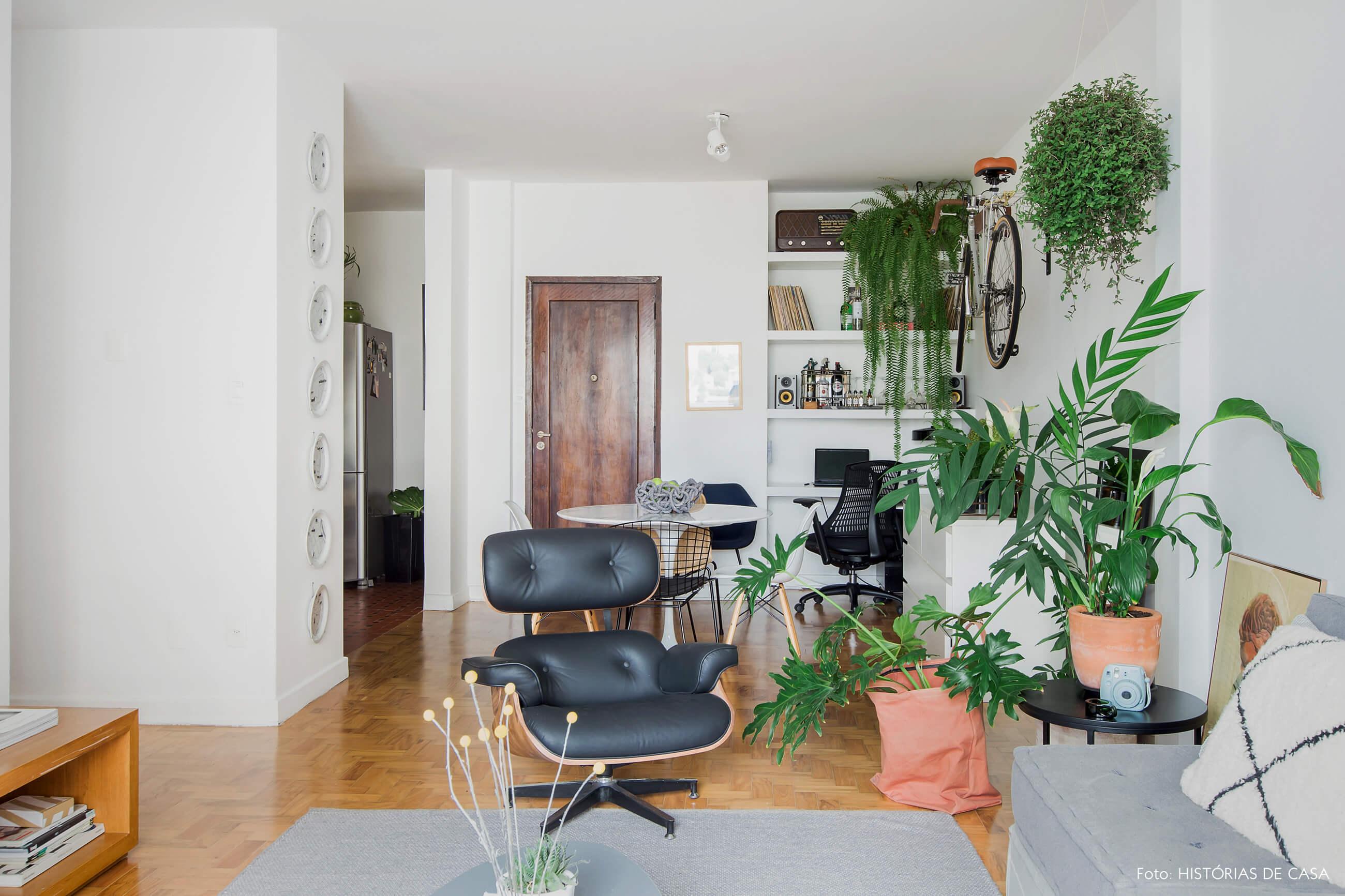 Sala com home office e muitas plantas, samambaia