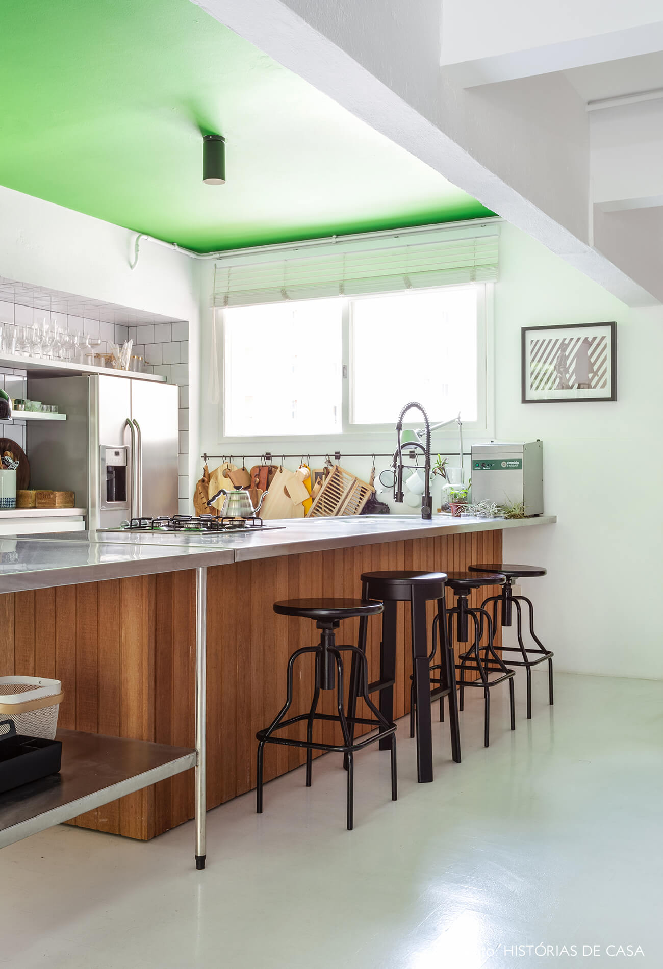 Apartamento do Maurício Arruda, cozinha com ilha de madeira e inox, e teto pintado de verde