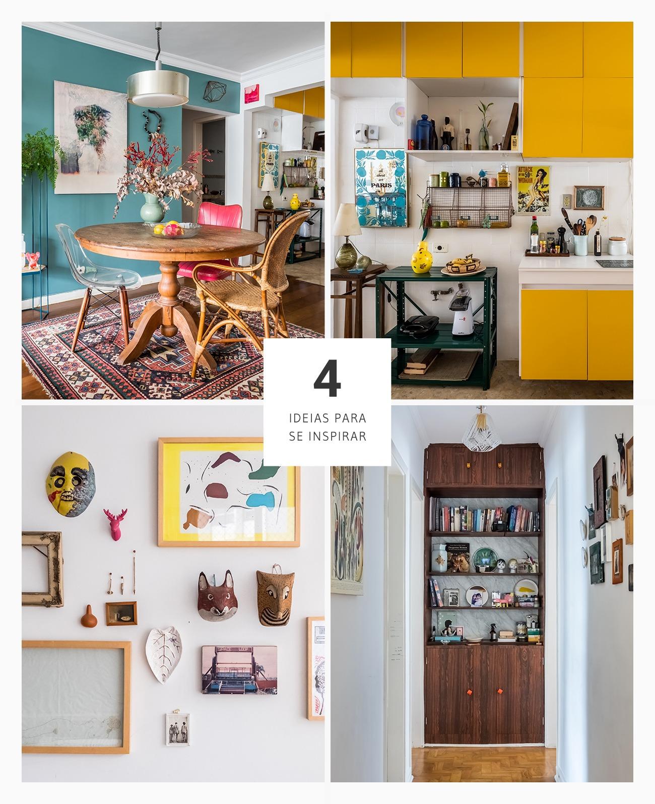boas ideias de decoração em um apartamento eclético e vintage