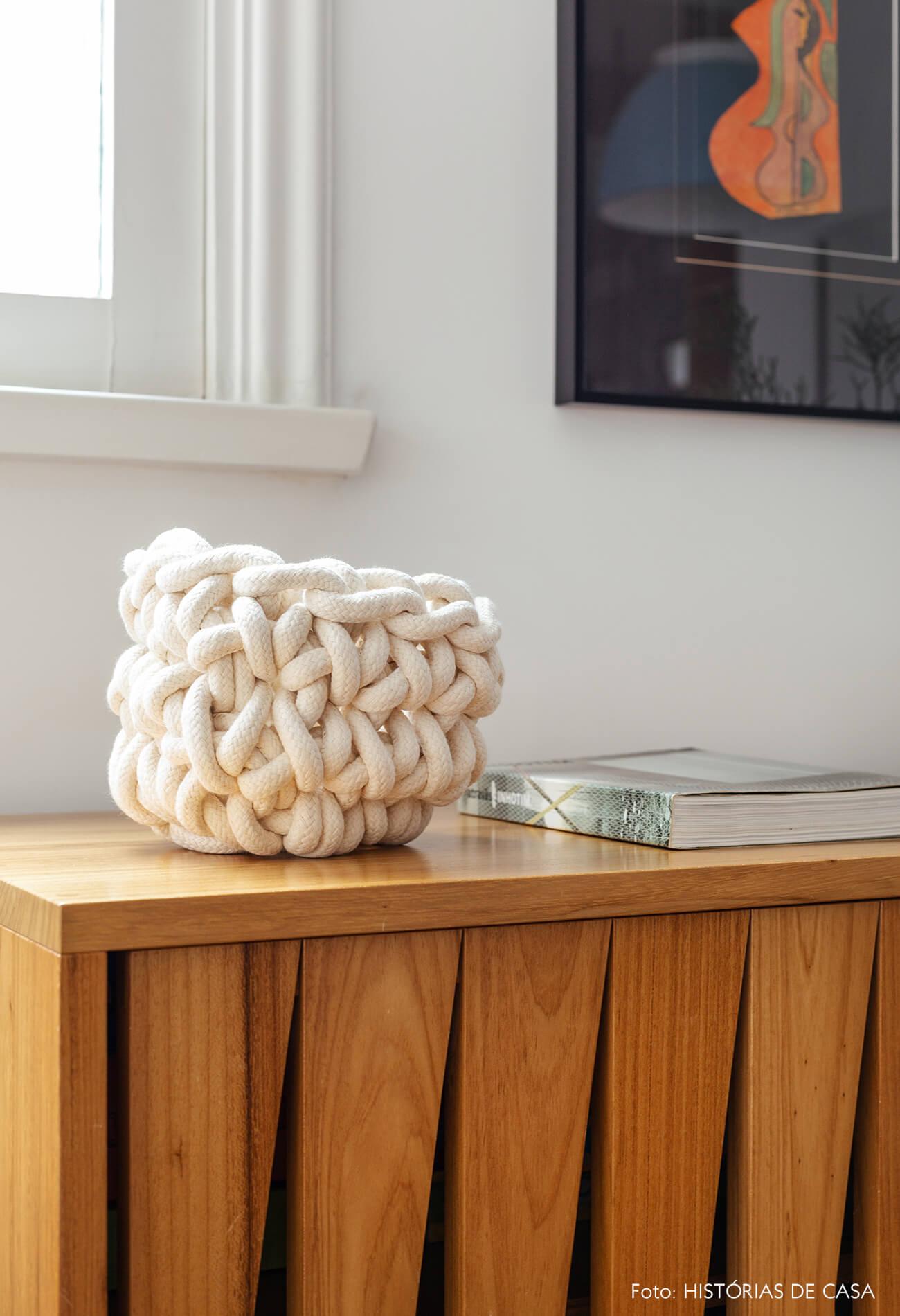 Decoração com texturas naturais, bowl de corda