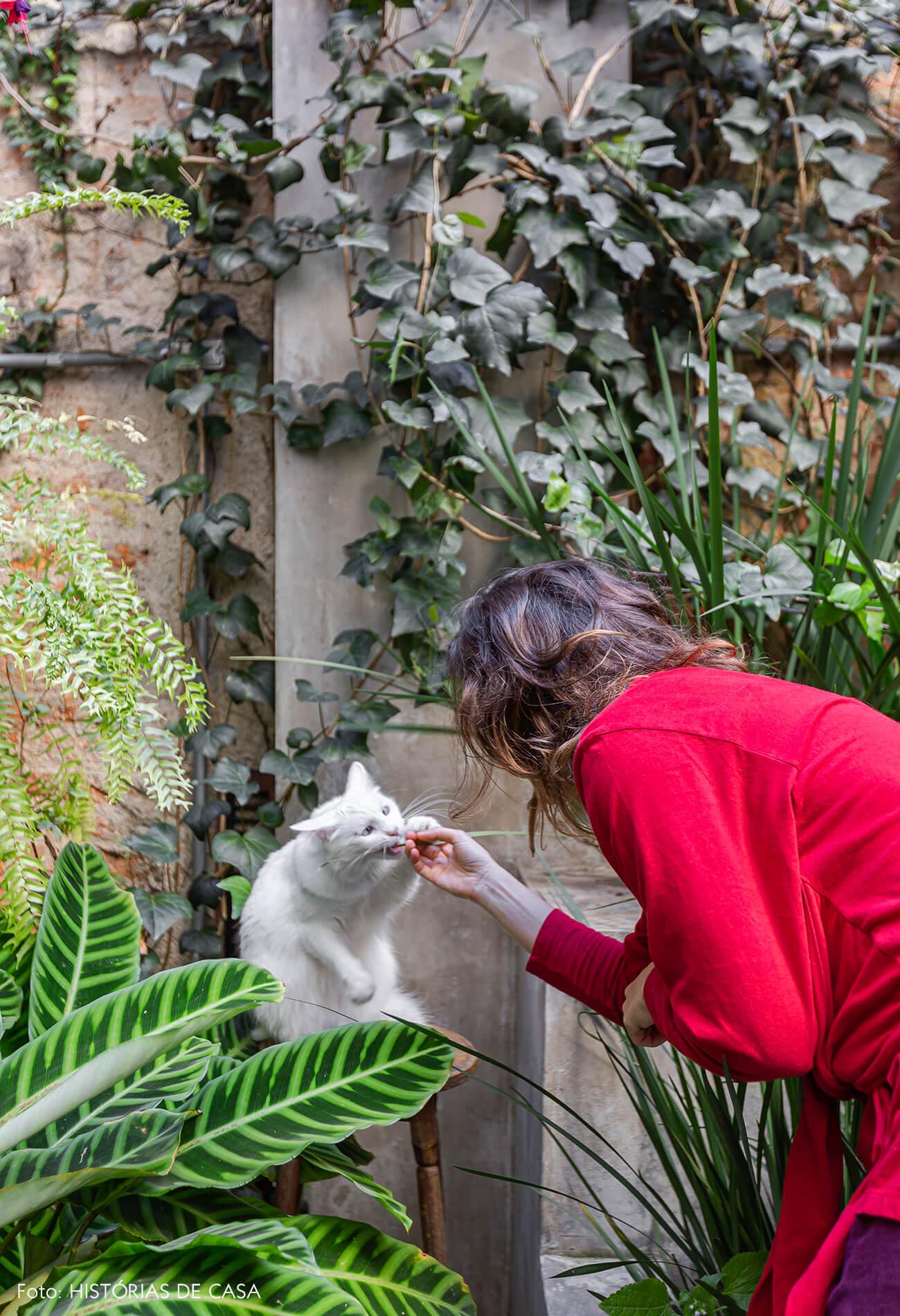 Apartamento térreo com jardim e gato