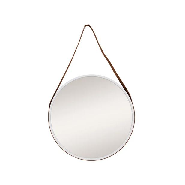 Espelho Decorativo Adnet Texturizado com Alça Courino Redondo Branco 50cm