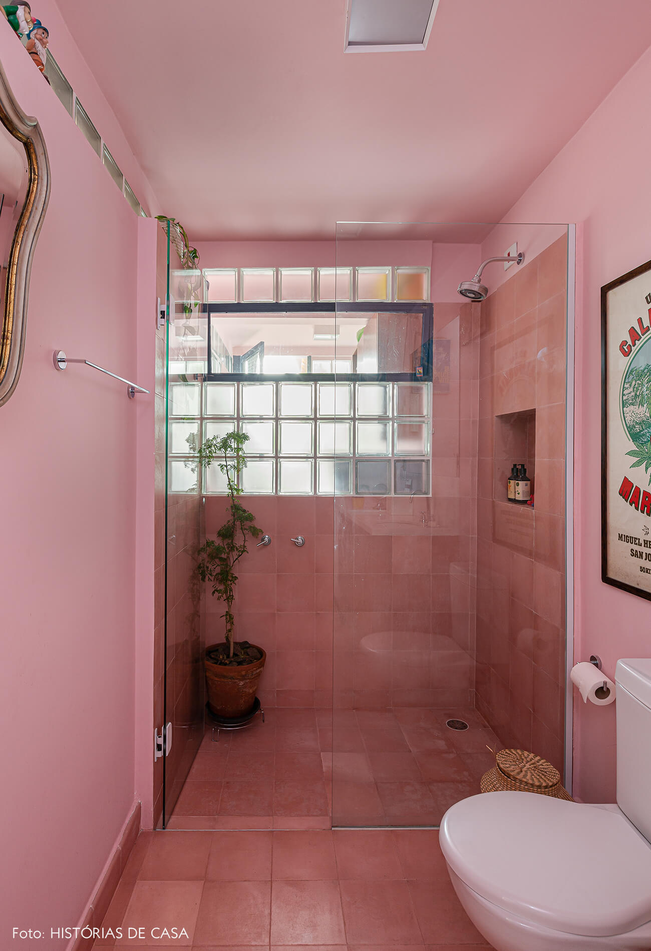 Banheiro rosa com piso de ladrilhos hidráulicos