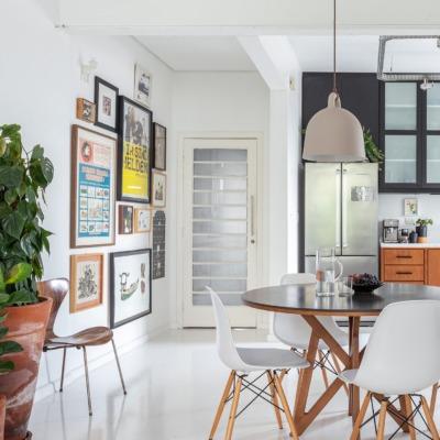 Apartamento escandinavo, piso de tacos pintado de branco