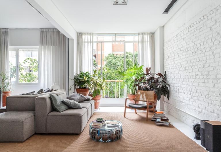 Apartamento escandinavo, decoração preto e branco, sala com plantas