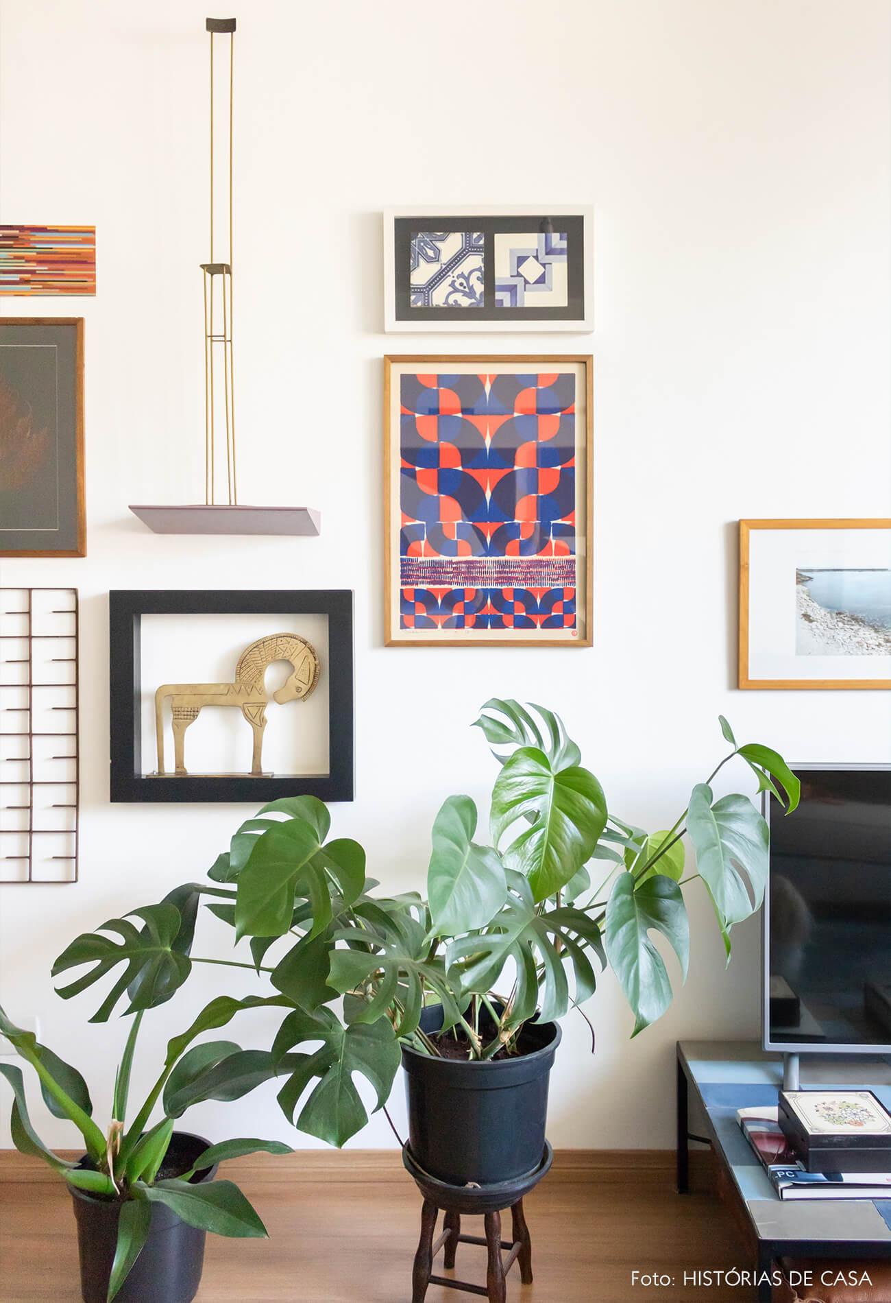 sala com quadros e plantas