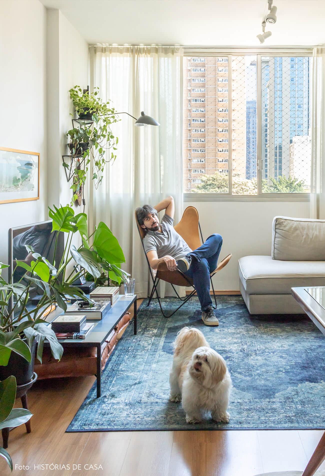 sala decoração plantas tapete azul