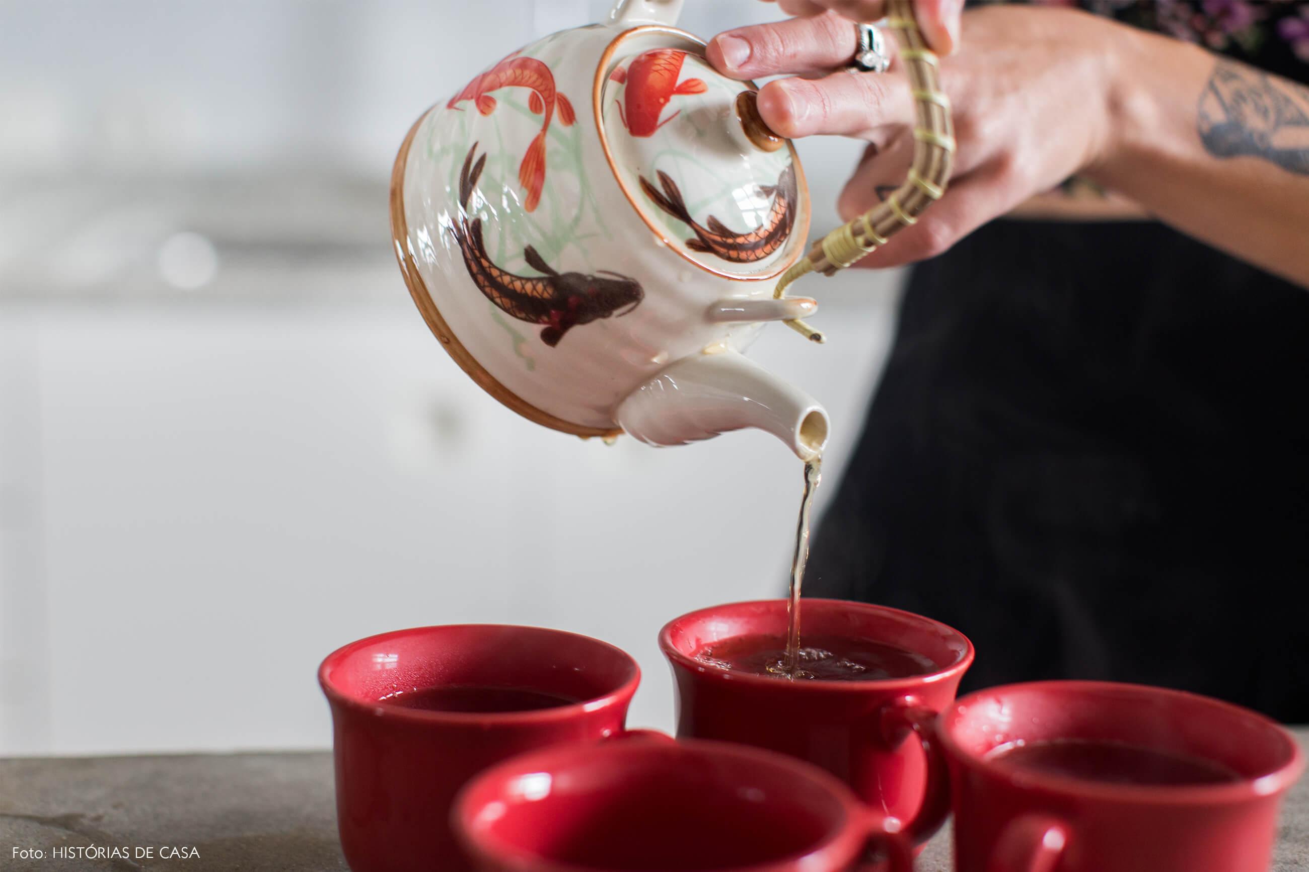 Ap decoração copan detalhe retrato chá xícaras vermelhas