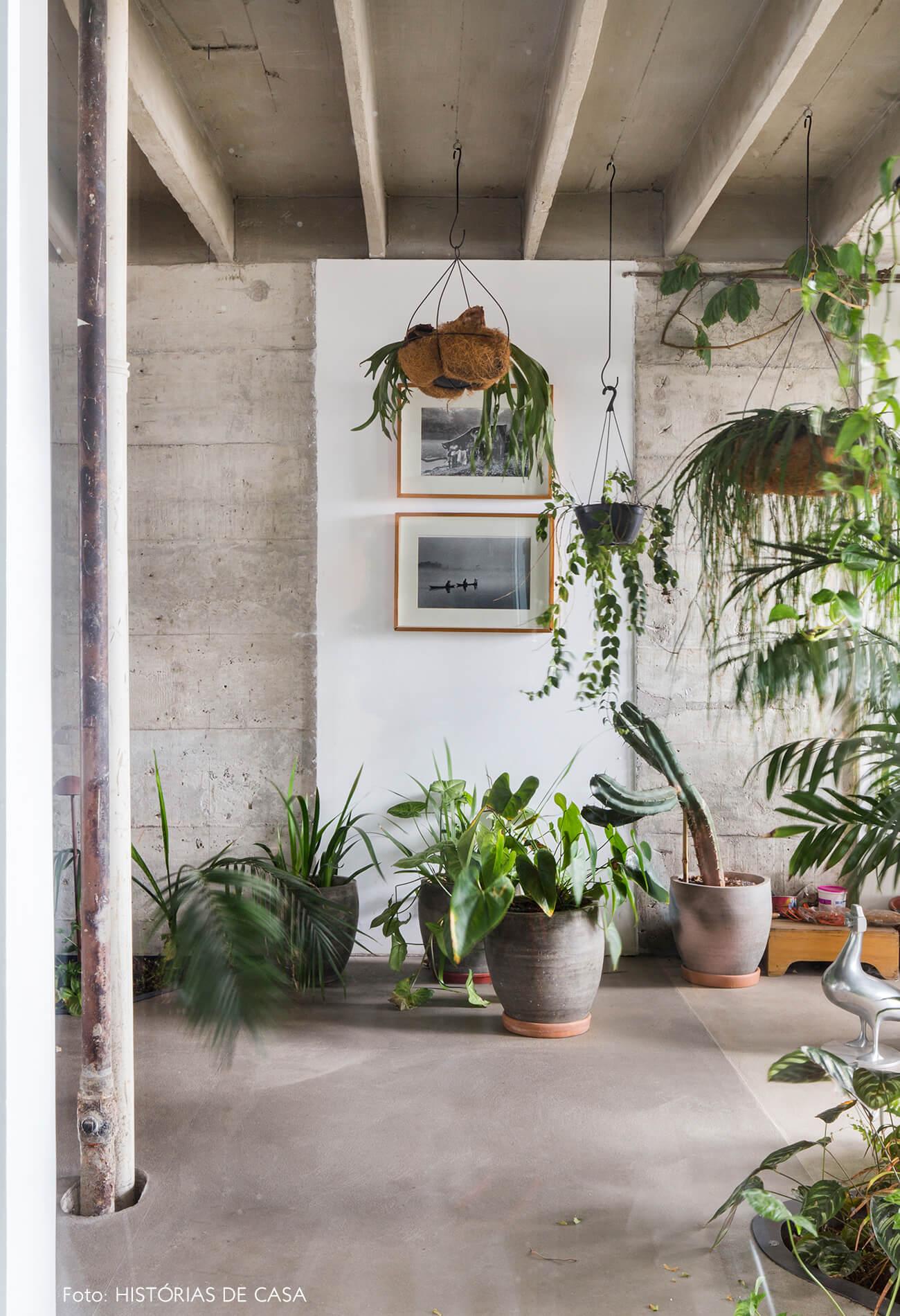 Ap decoração copan parede de concreto no jardim interno com plantas e quadros cano aparente