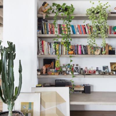 decoração copan estantes concreto e parede branca com plantas e livros