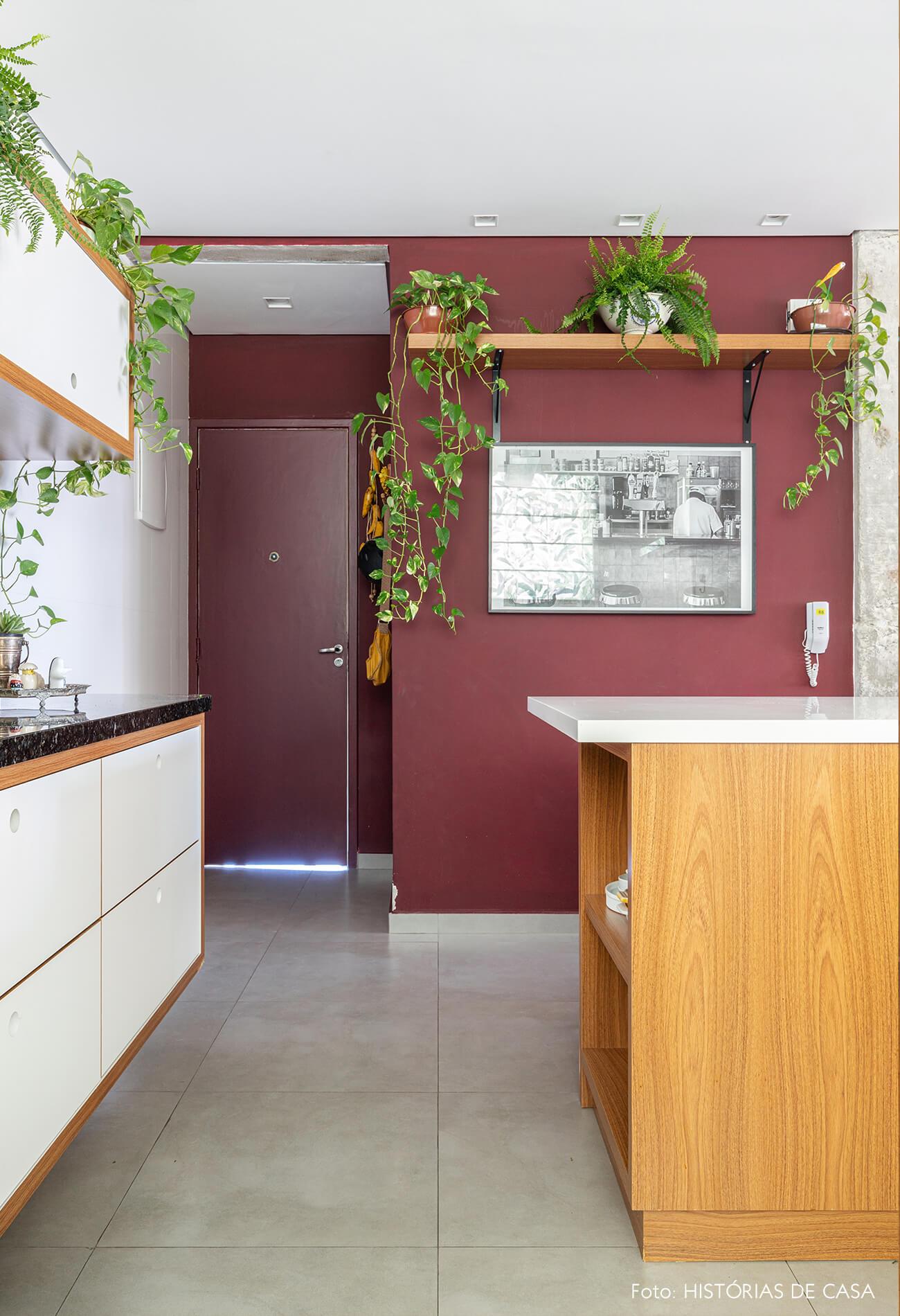 cozinha com parede vinho e plantas