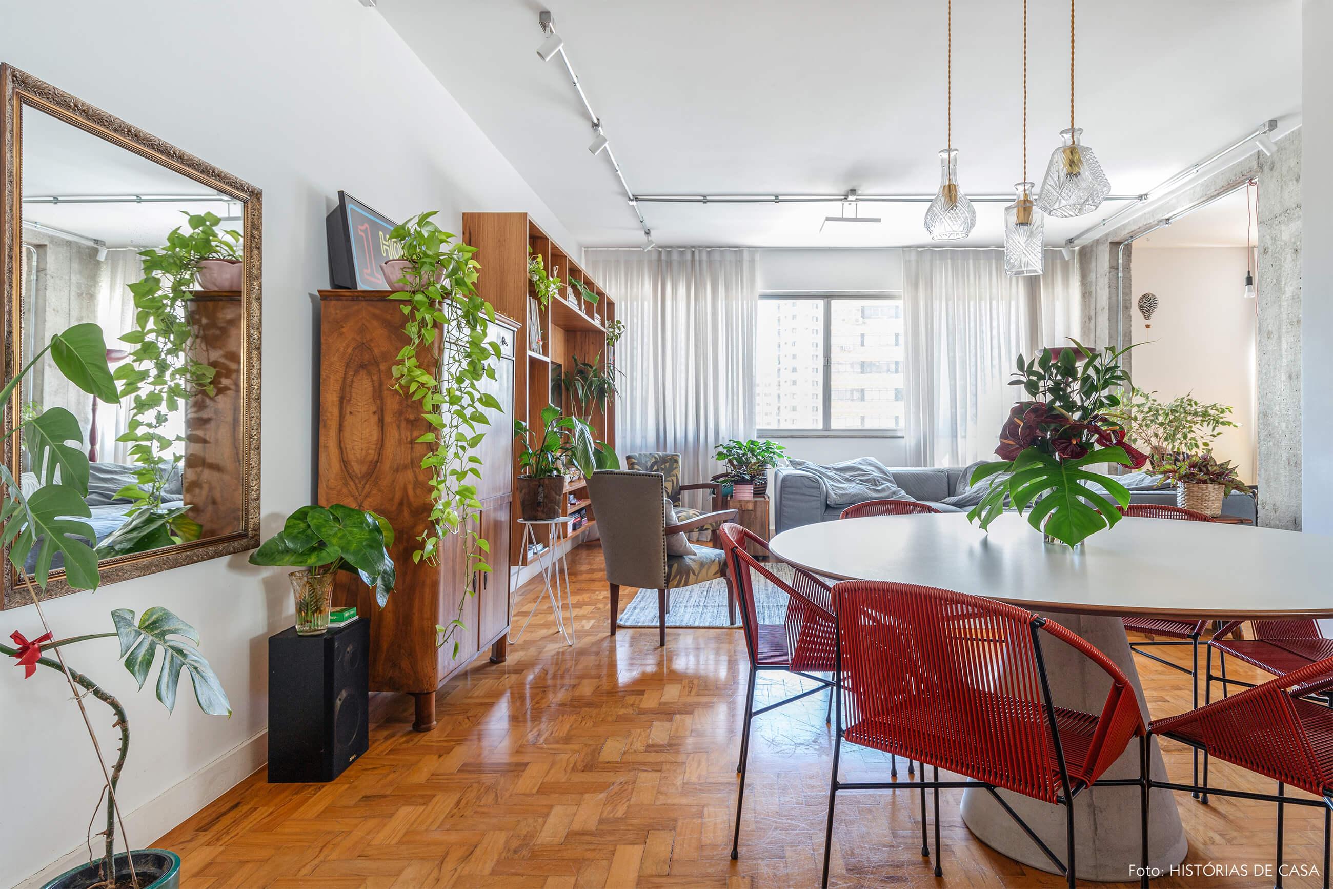 Ap Sala chão madeira e plantas