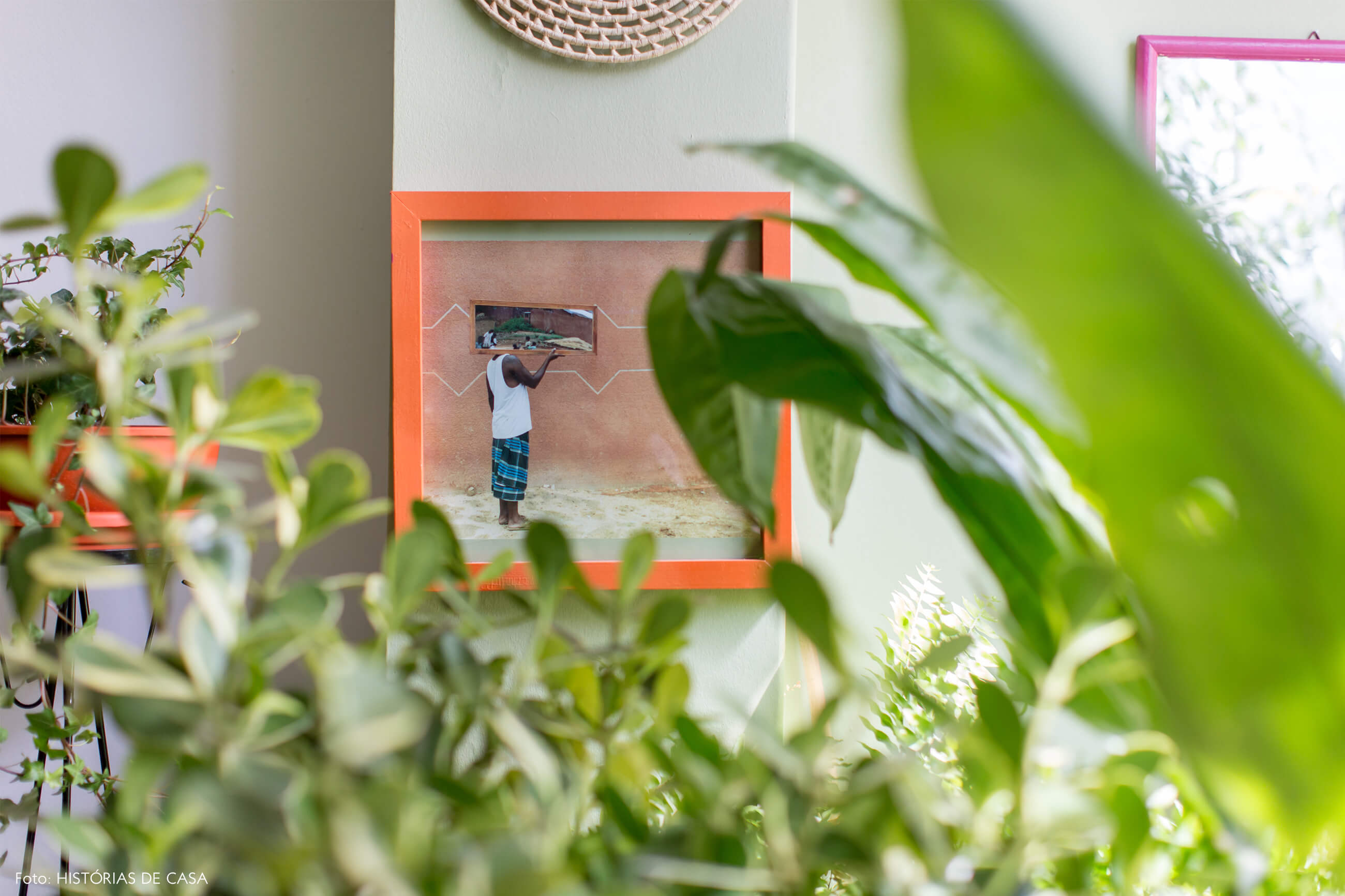 sala-plantas-quadro-fotografia-moldura-laranja-vaso-laranja