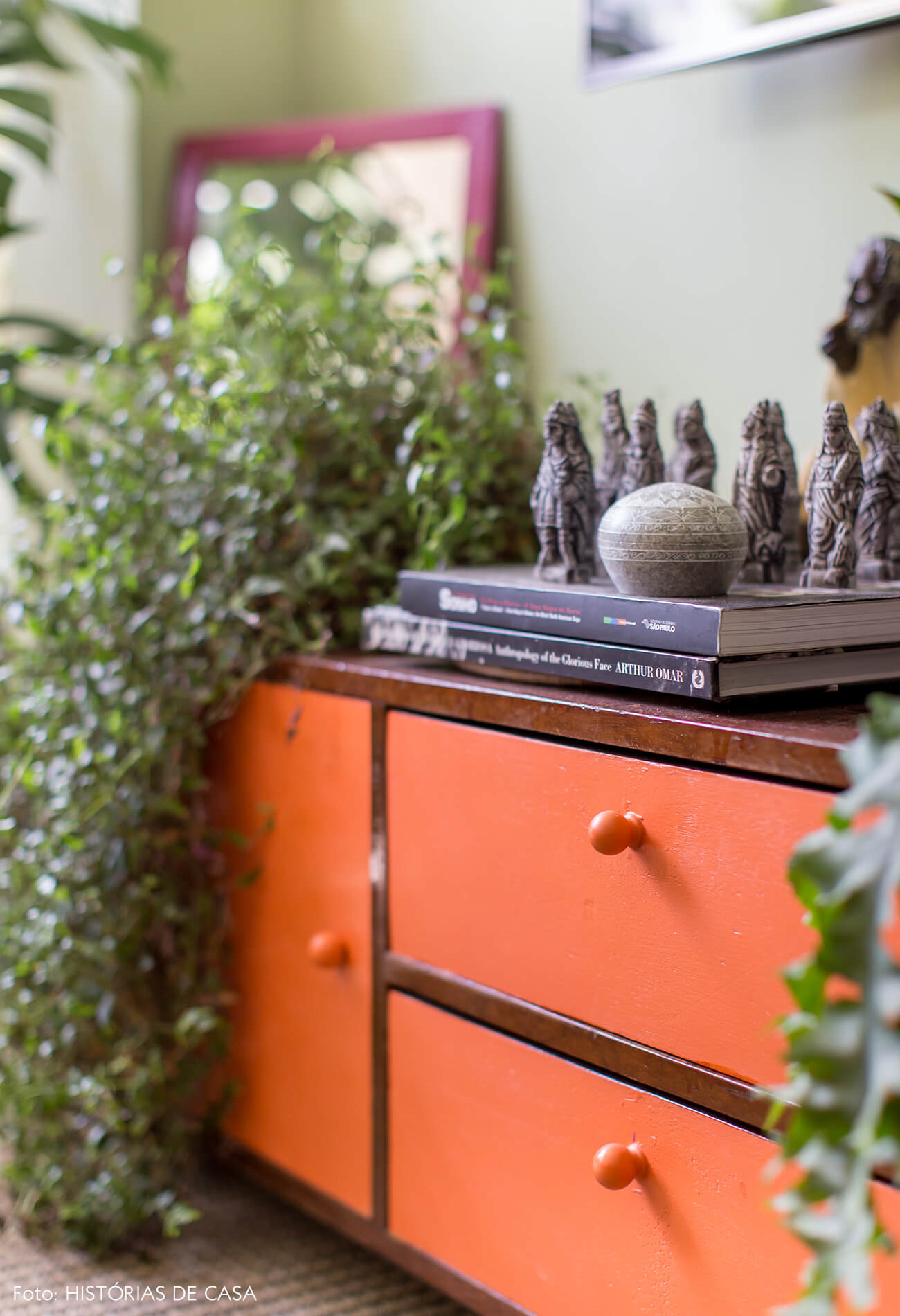 estante-laranja-plantas-parede-verde