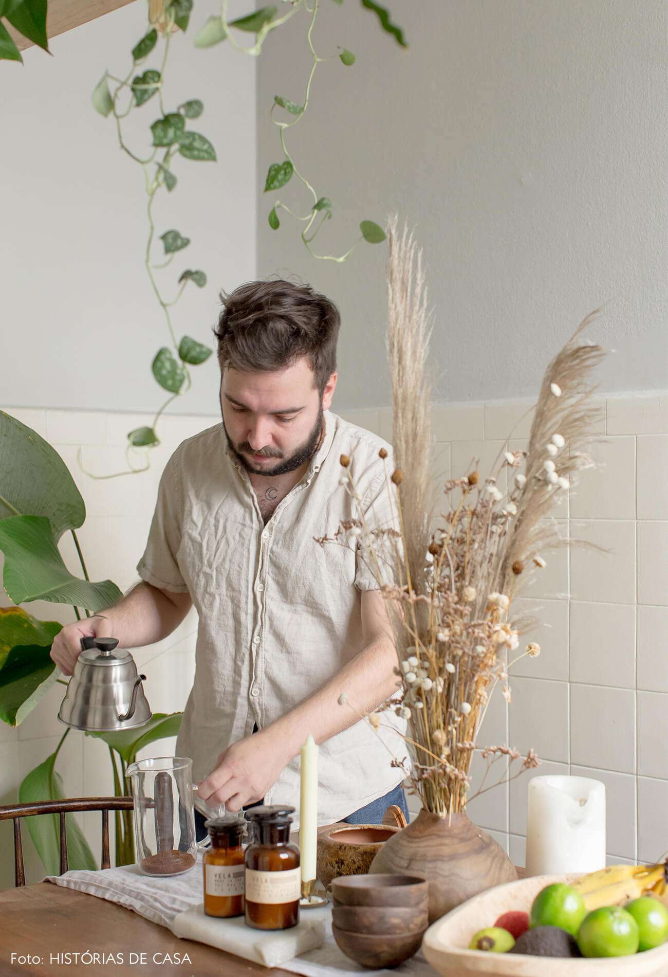 retrato café plantas
