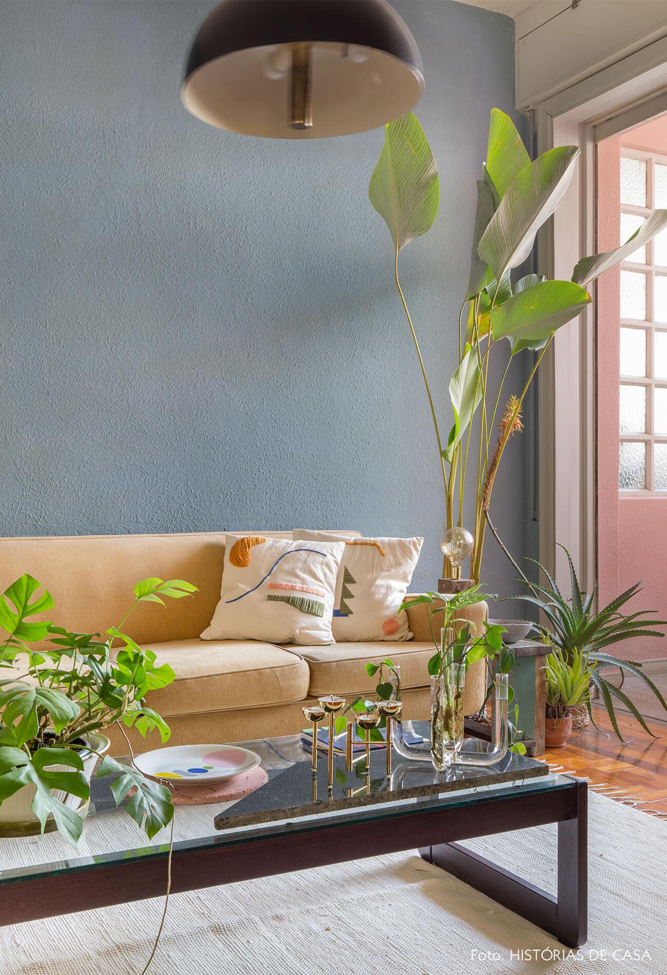 sala com parede azul piso de madeira com taepte branco e sofá bege e plantas