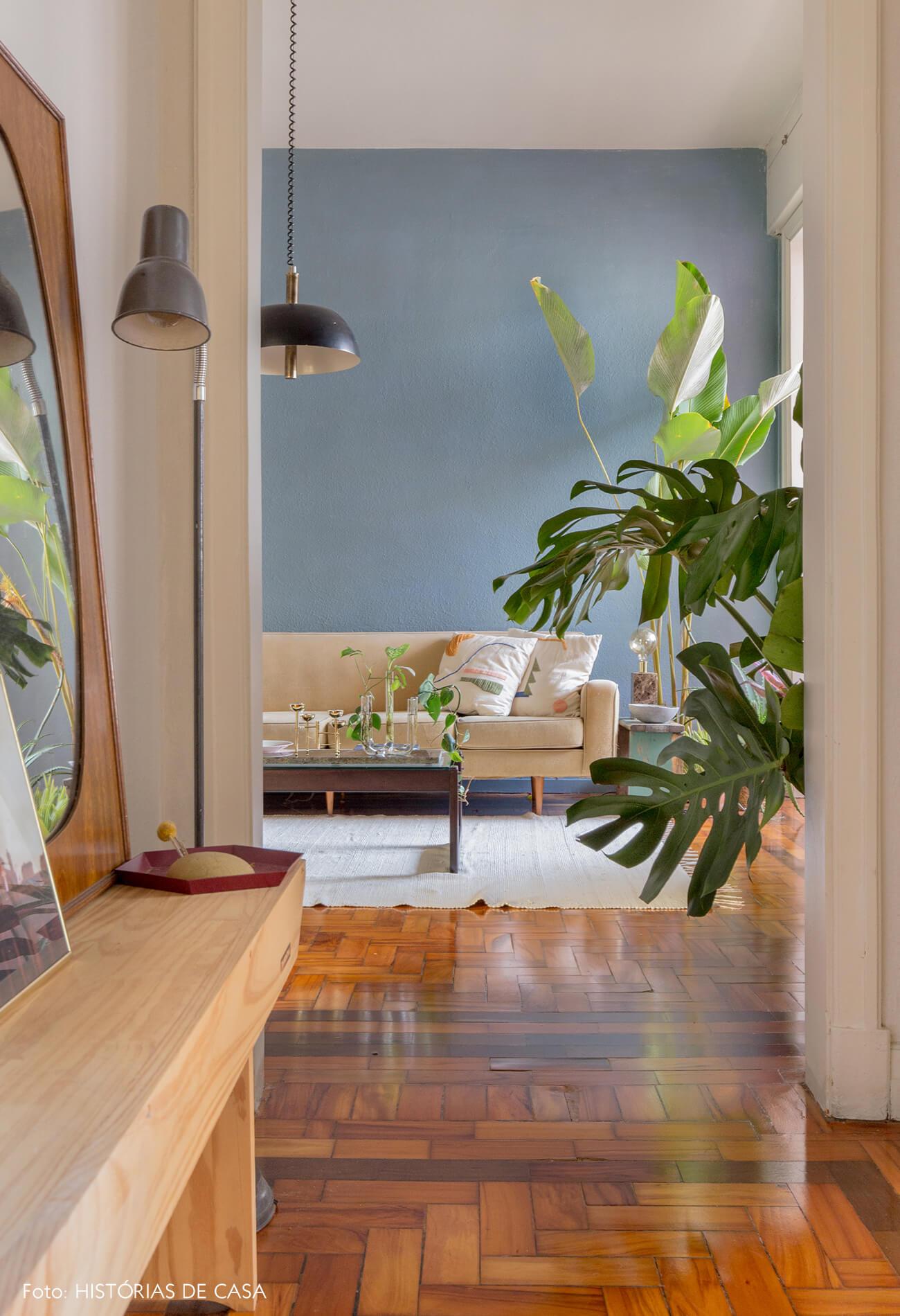 corredor para sala om parede azl piso de madeira e plantas