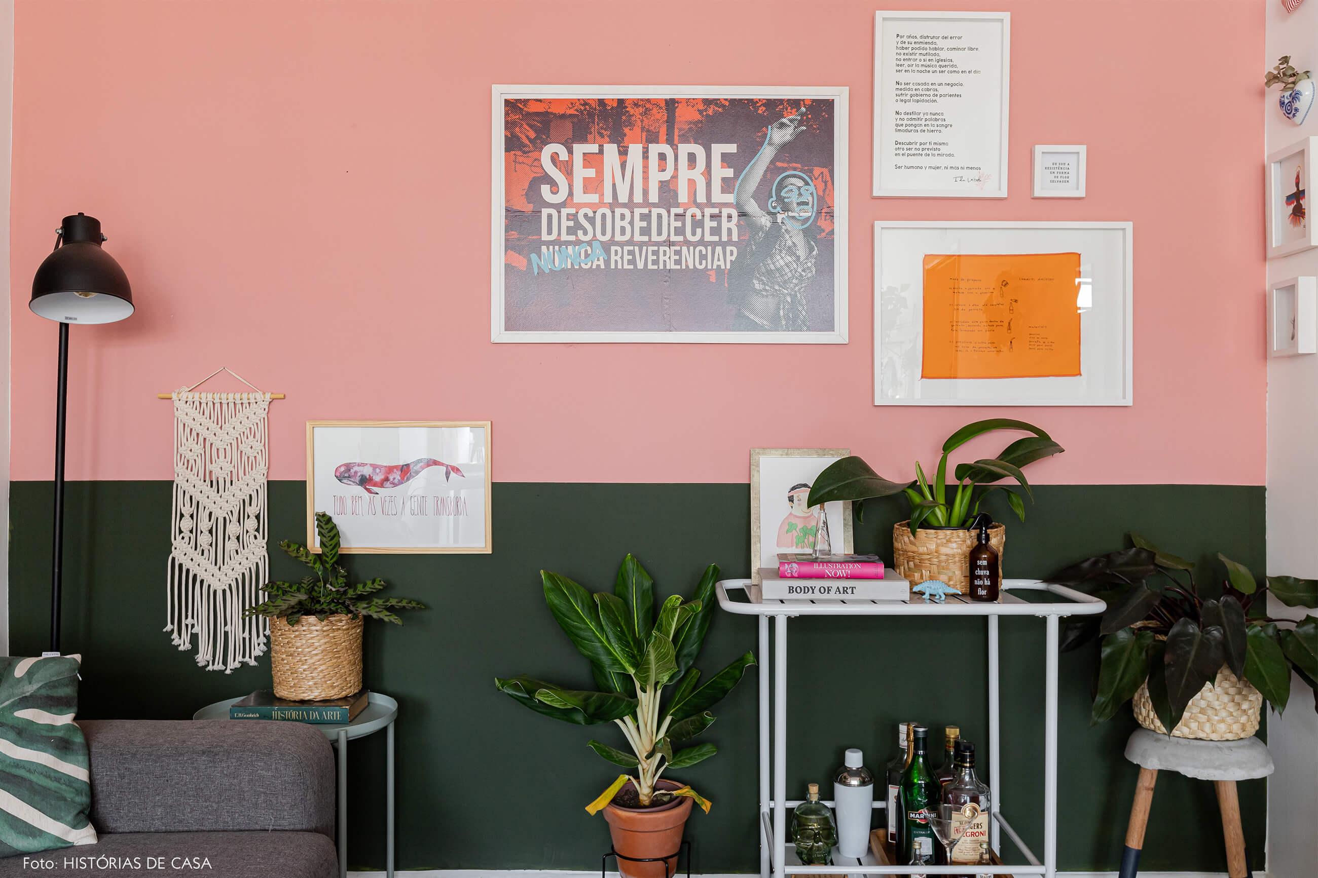 decoração-sala-com-parede-verde-e-rosa-e-plantas