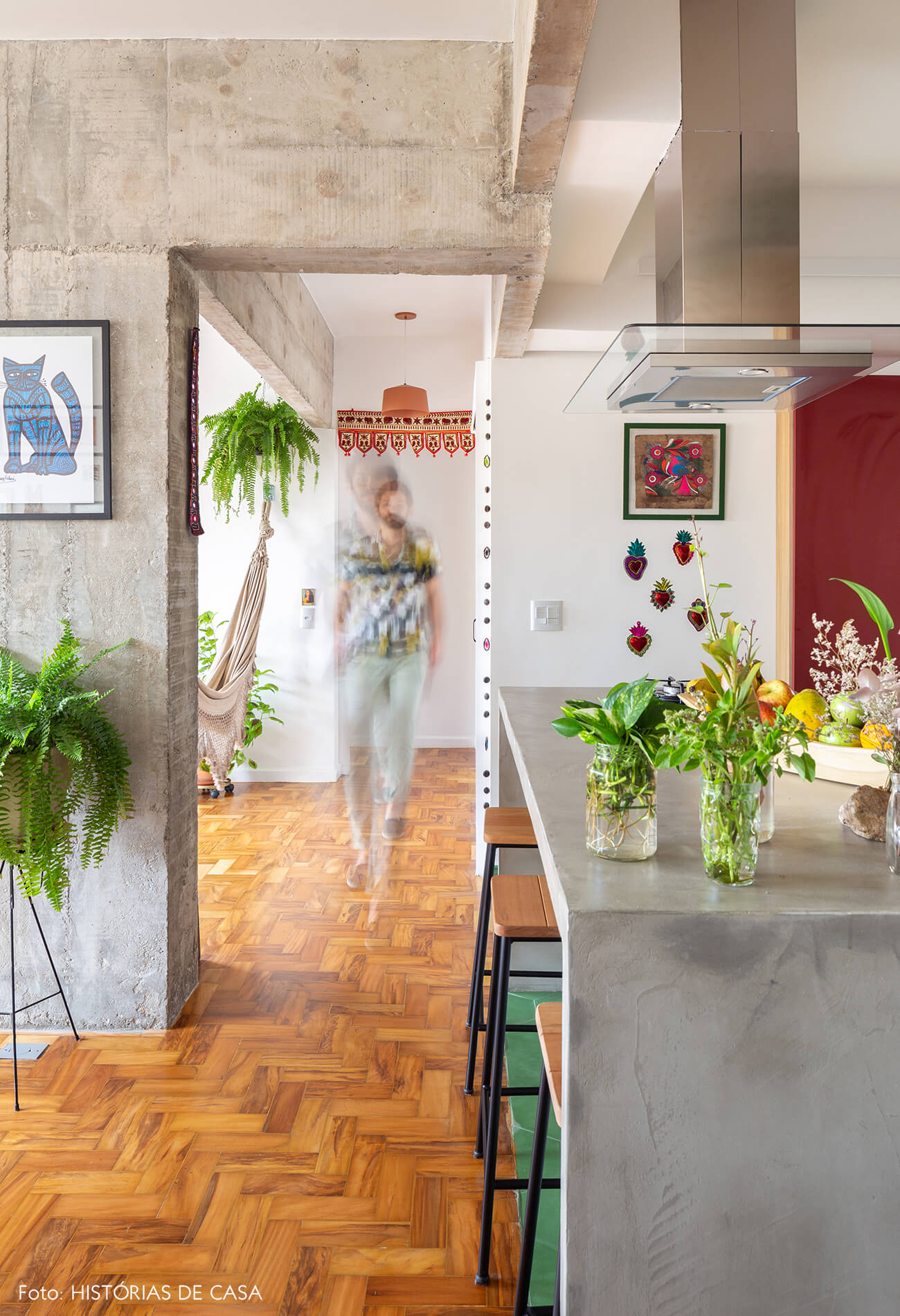 decoração cozinha com estrutura e bancada de concreto