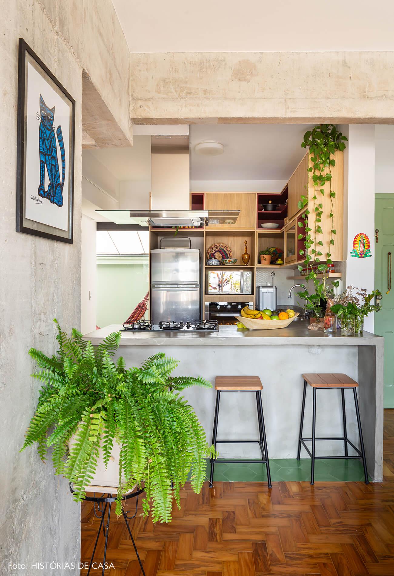 decoração cozinha com bancada de concreto