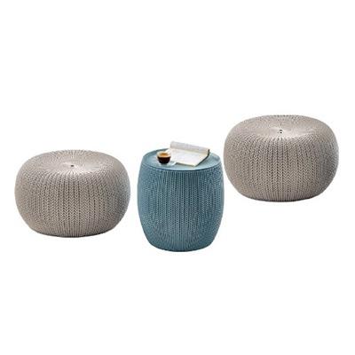 Conjunto para Jardim Plástico 3 peças Urban Knit Azul e Bege