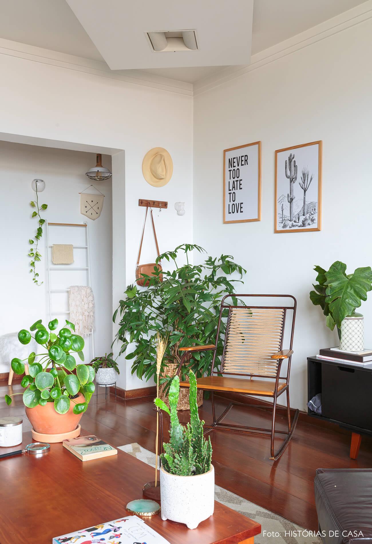 decoração sala com muitas plantas e moveis de madeira