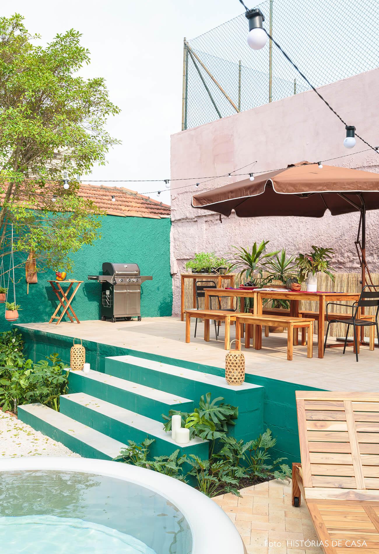 decoração antes e depois jardim leroy merlin parede verde e rosa