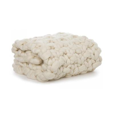 Maxi manta tricot textura Cru branca