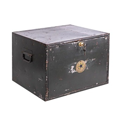 Caixa em metal tipo cofre com alças