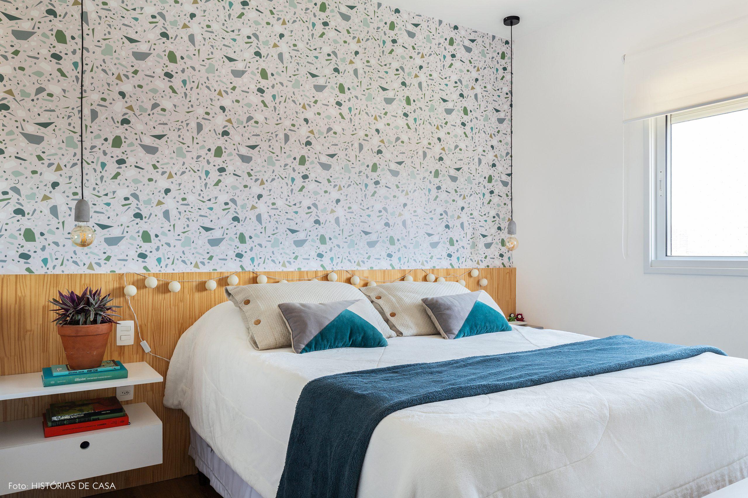 decoração quarto com papel de parede de granilite
