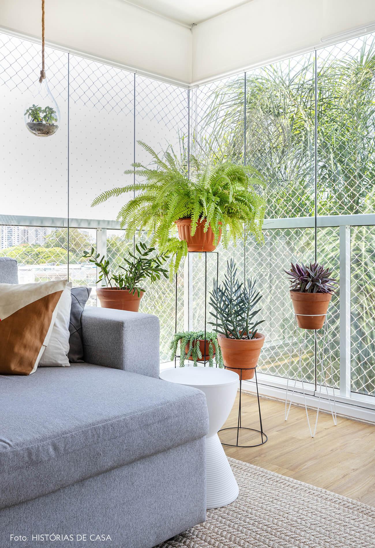 decoração sala com muitas plantas e sofá cinza