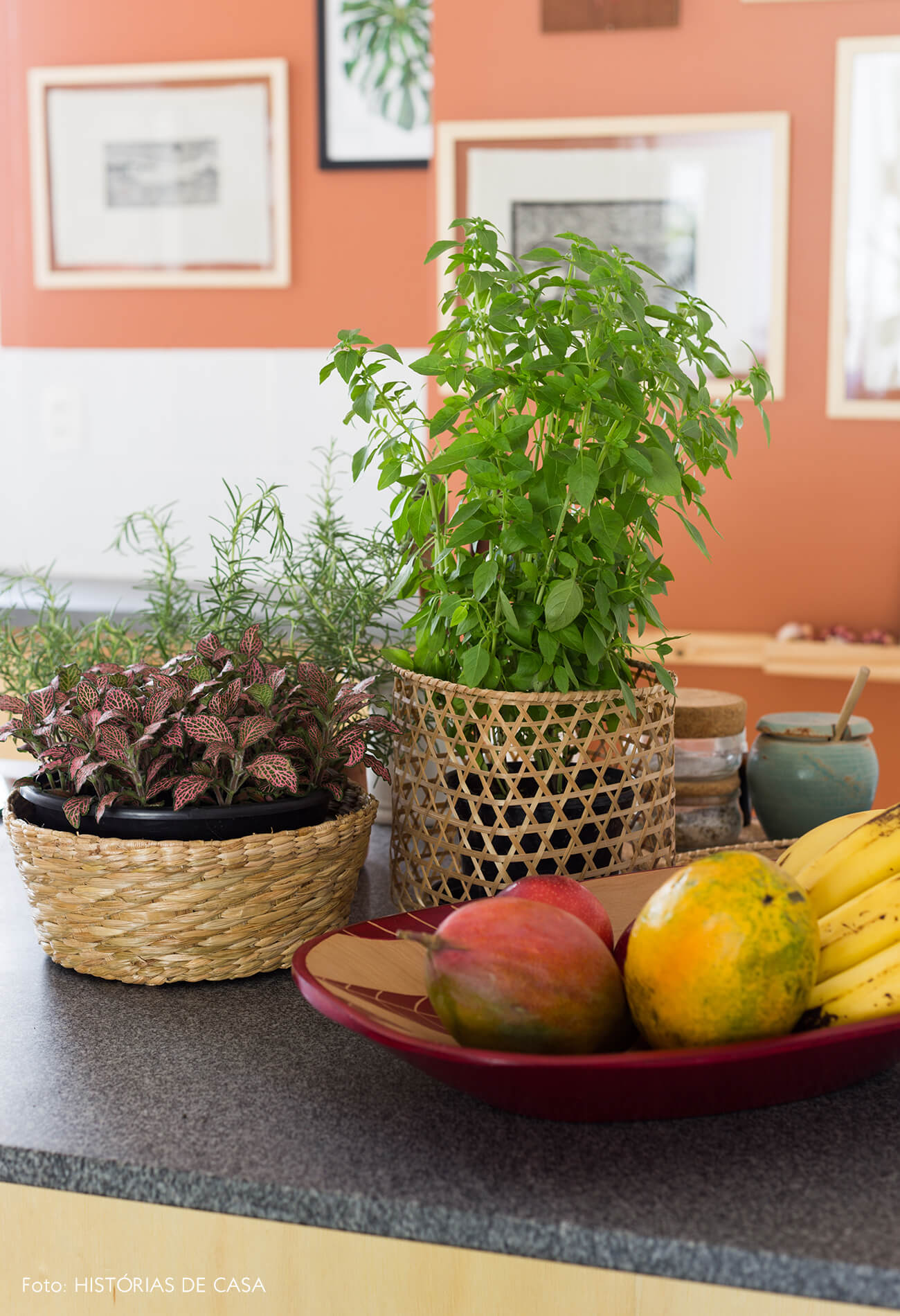 decoração cozinha com temperos e plantas em cestos