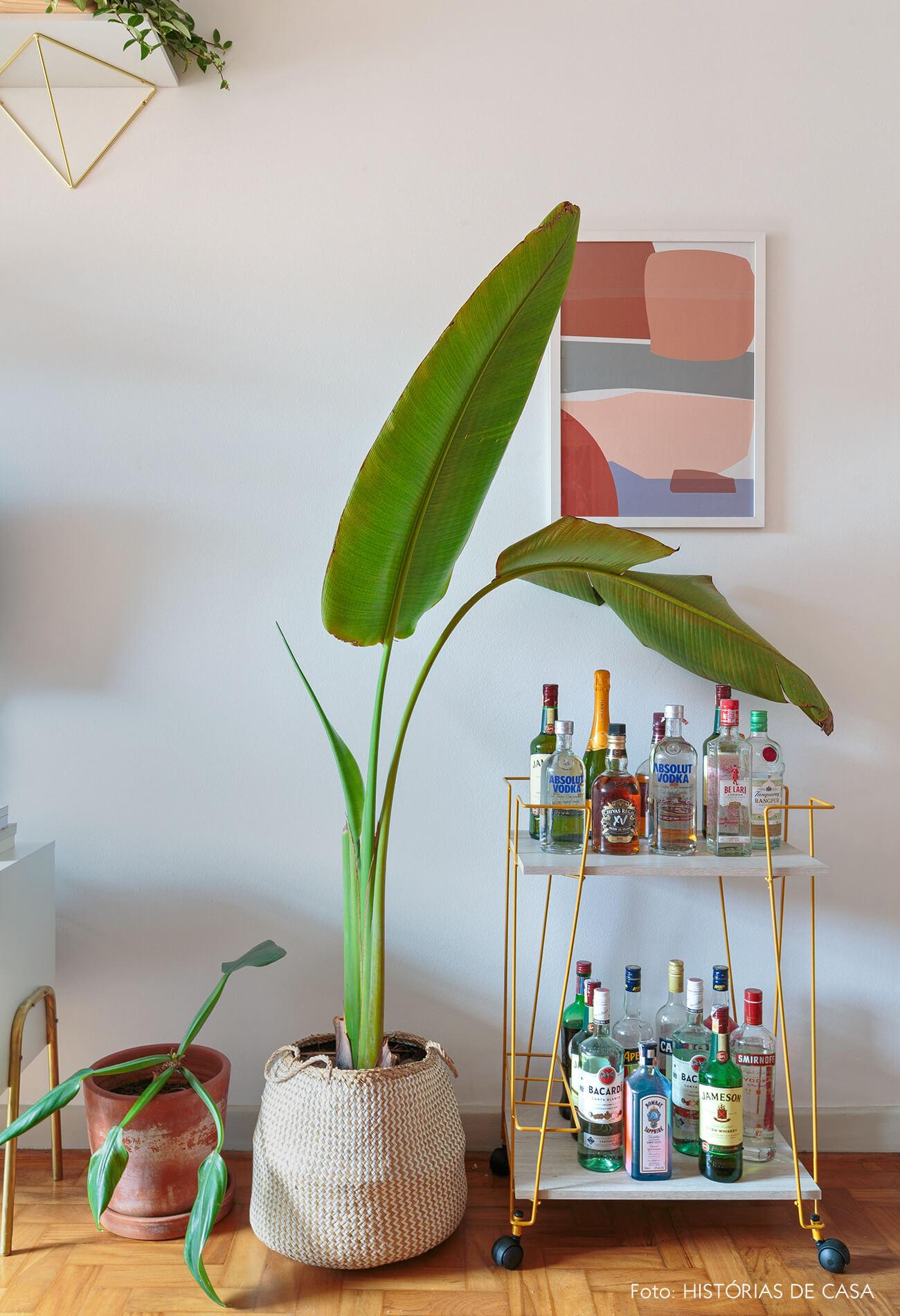 decoração ape alugado sala com cesto, carrinho de bar e plantas