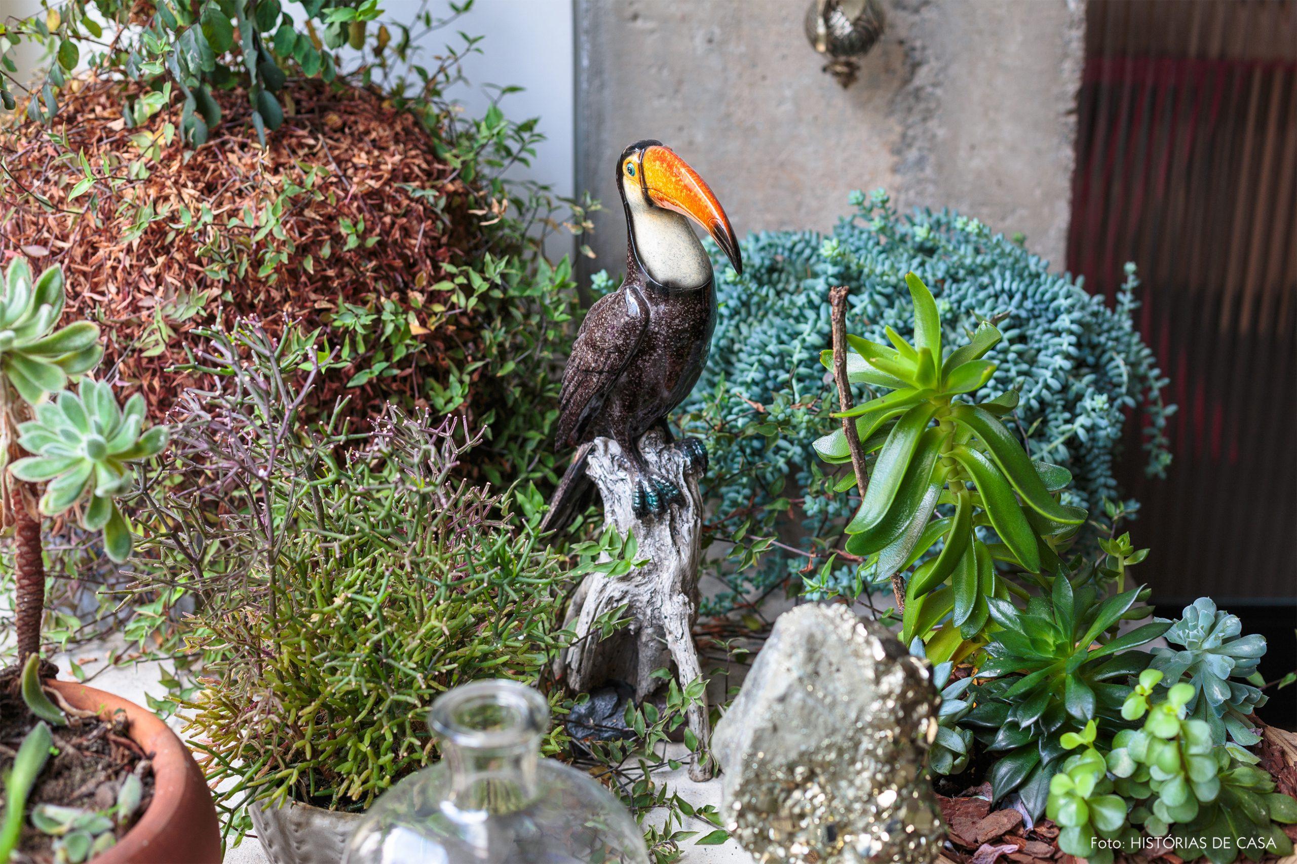 decoração muitas plantas e objeto tucano decorativo