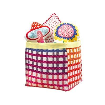 caixa organizadora quadriculada colorida