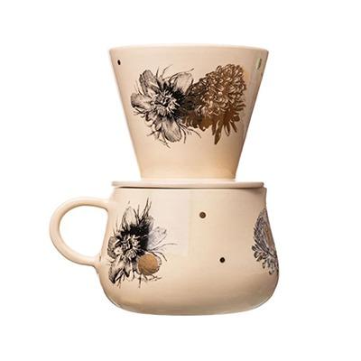 Kit Café em cerâmica floral